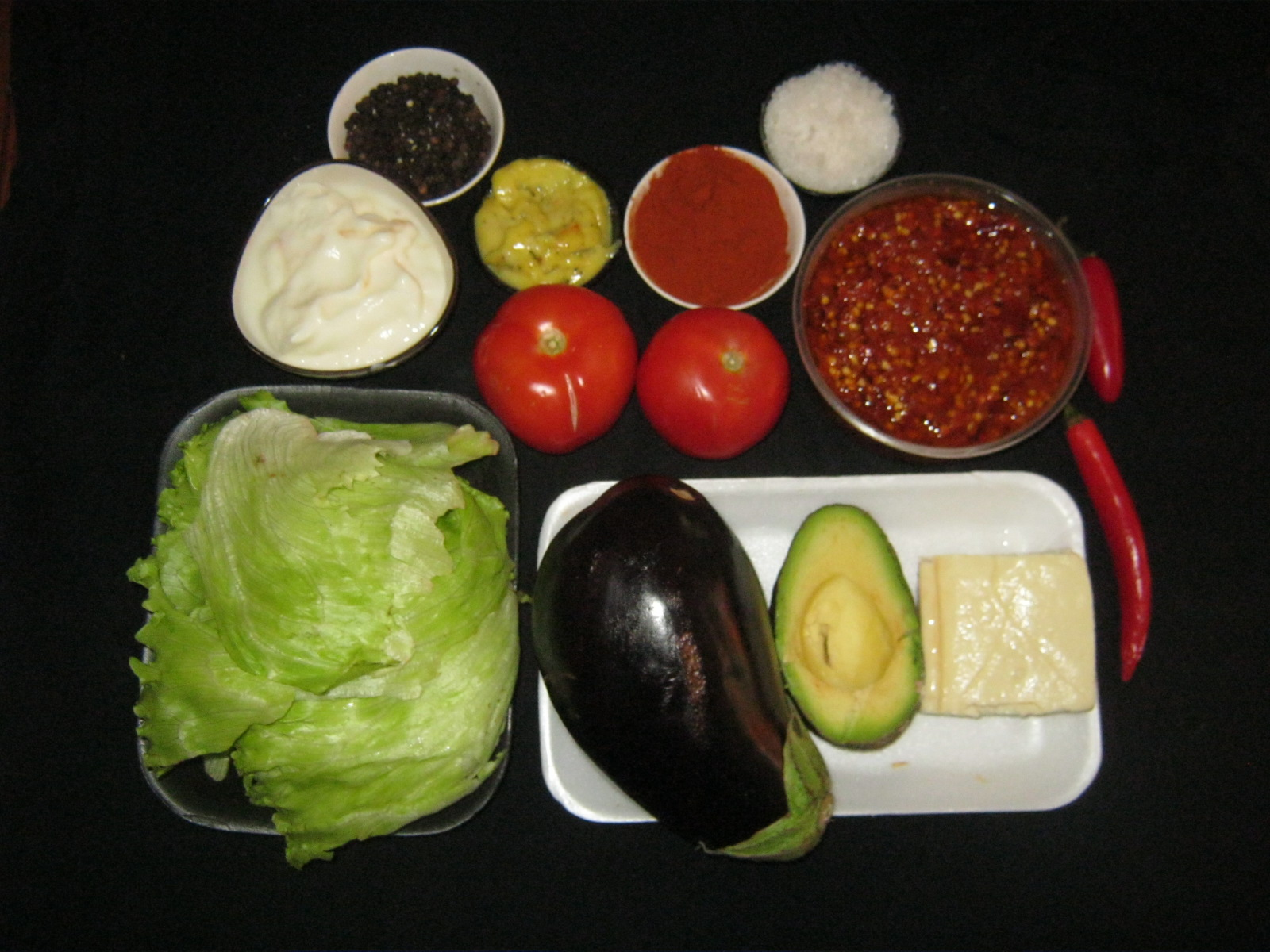 Ingredients for Brinjal Tomato Avo Burger