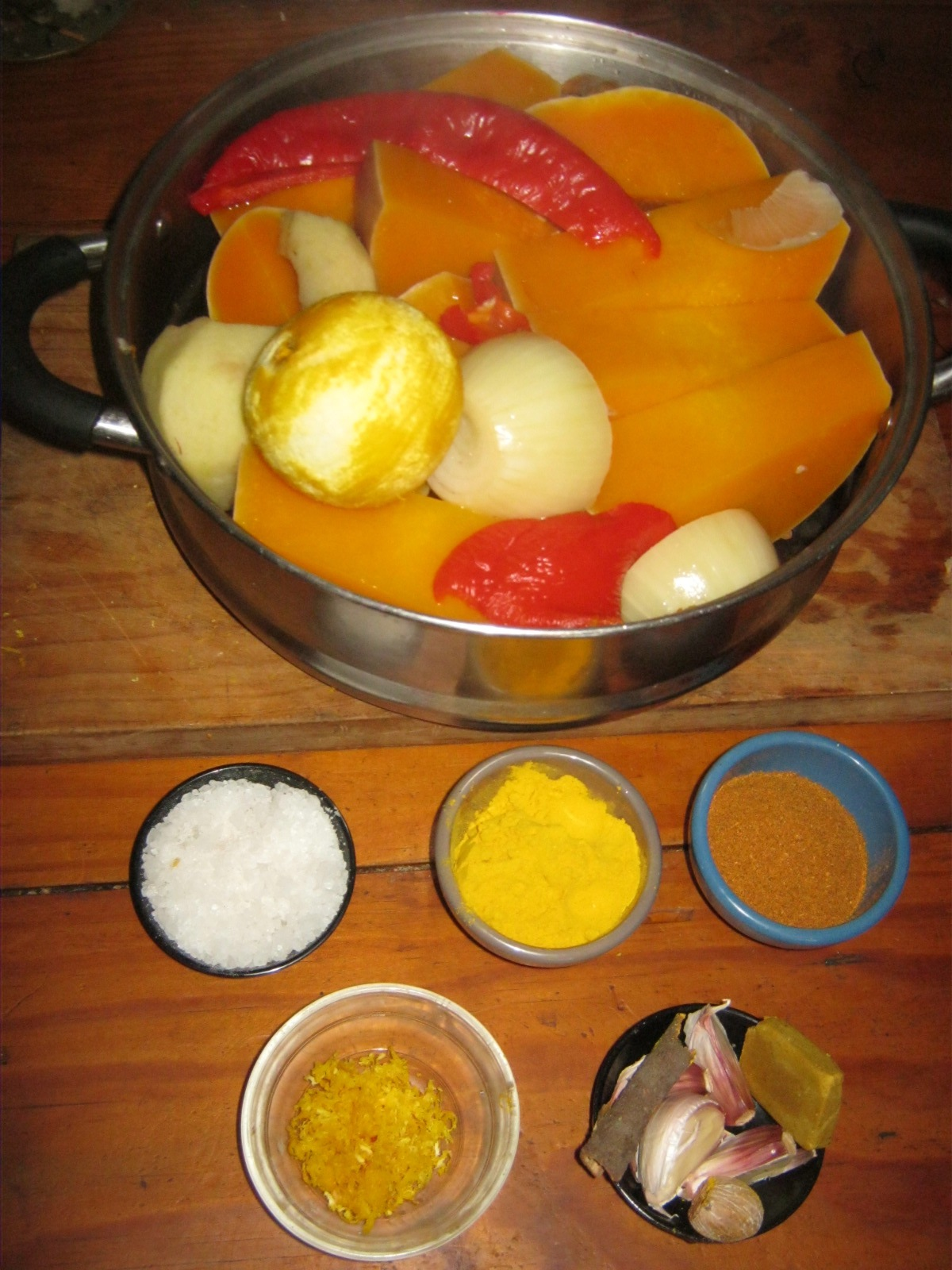 Ingredients  for traditional South African Butternut Soup