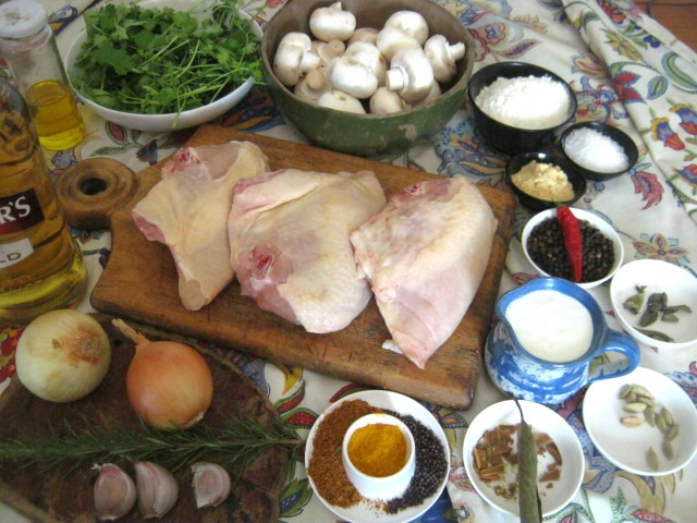 Ingredients  for Chicken casserole and mushroom recipe