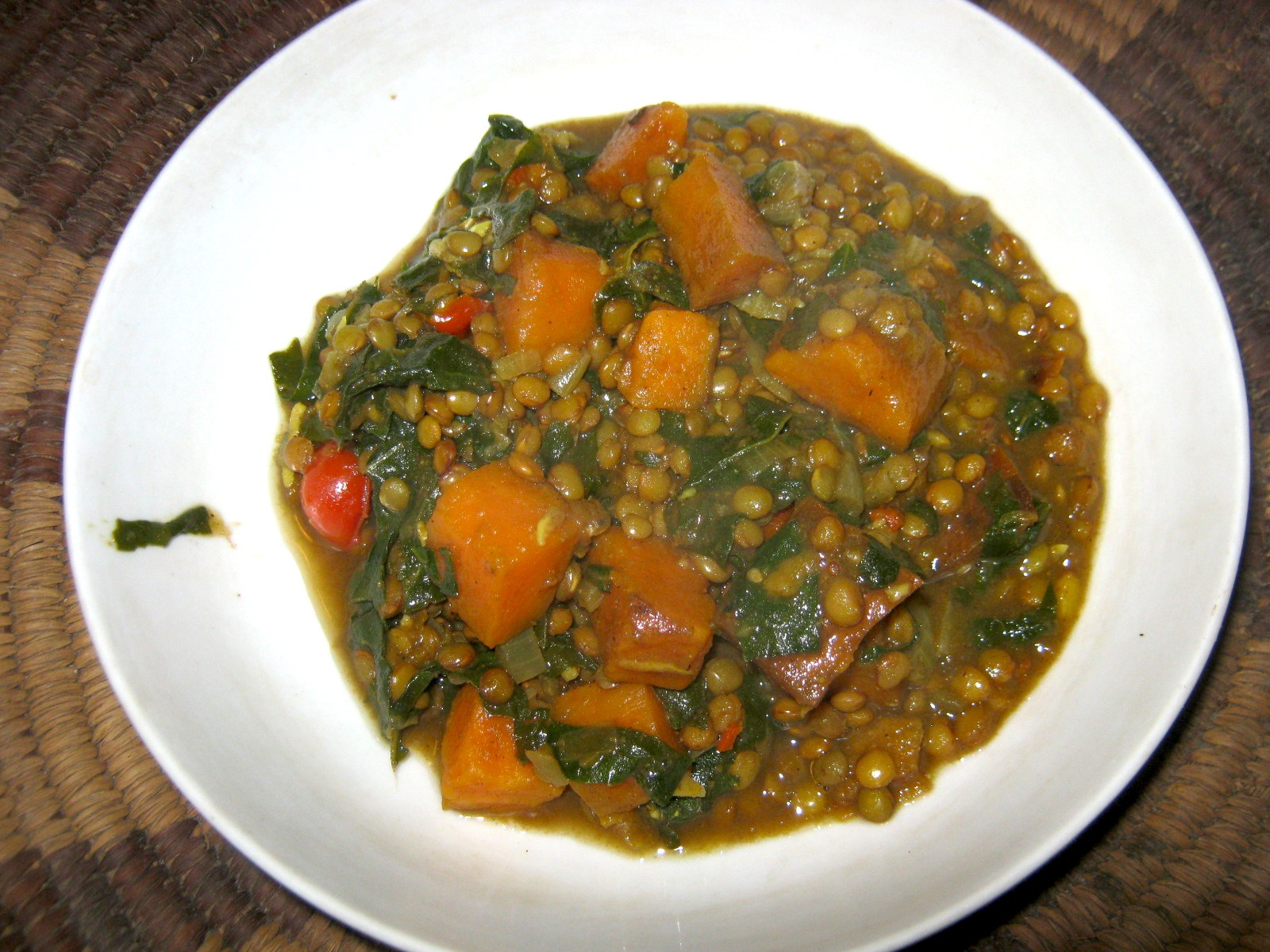 Indian Dhal (lentil stew) with sweet potato and spinach