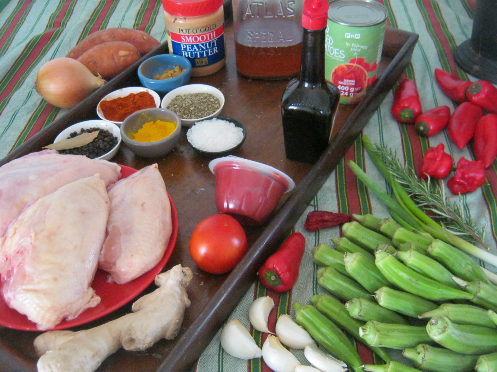 Ingredients for hot ghanaian chicken stew with okra