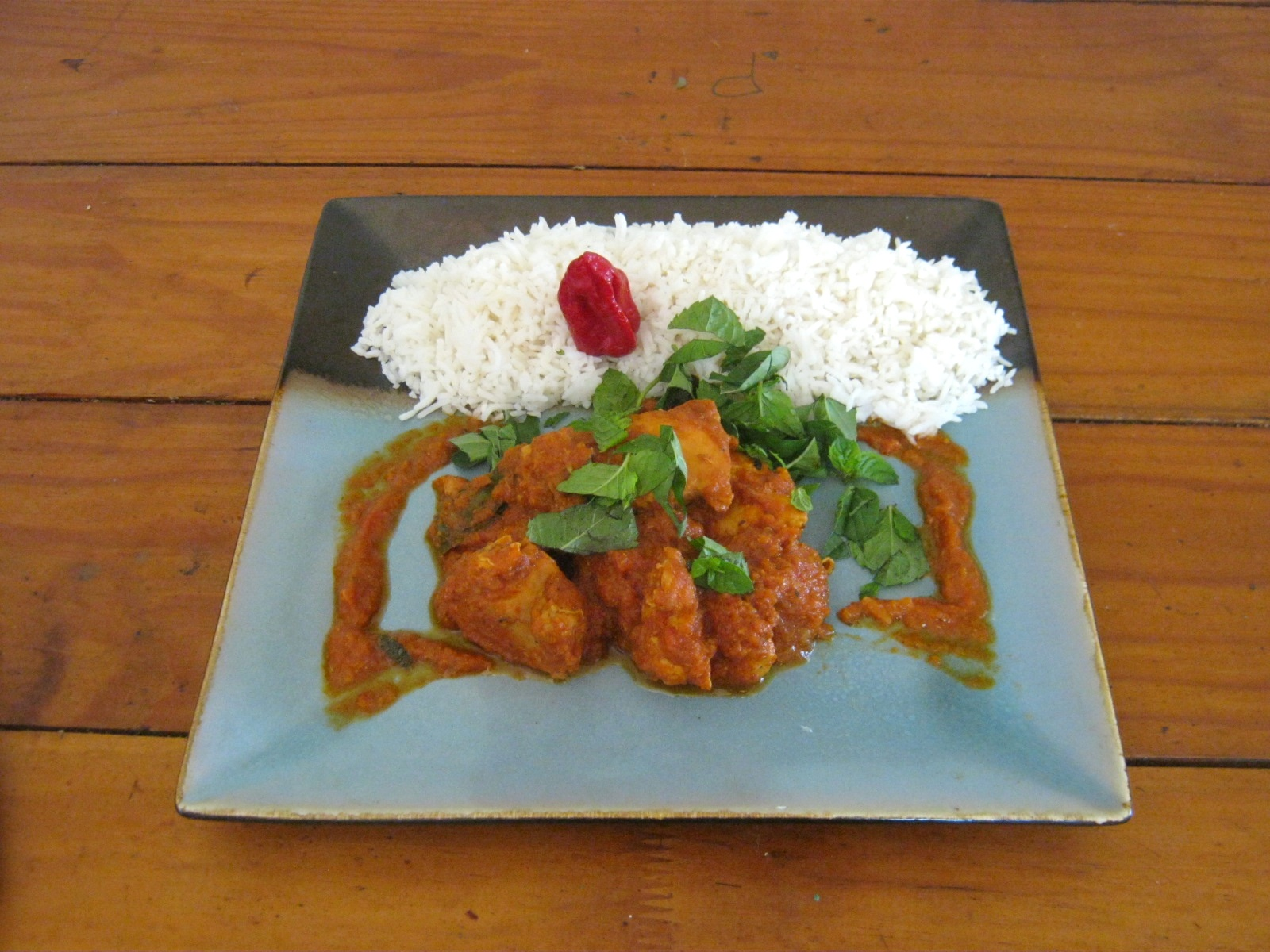 Madras chicken curry and rice on a plate