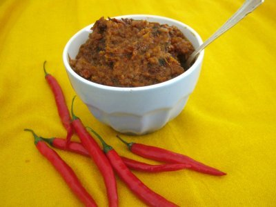 Shito is a traditional Ghanaian hot pepper sauce
