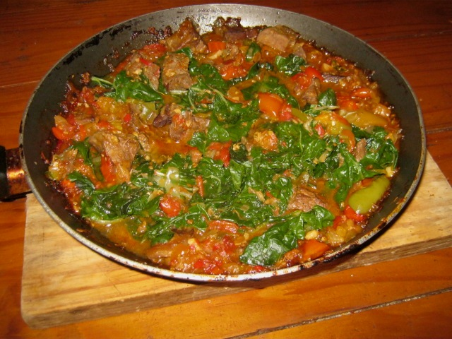 Shoko - Ghanaian Beef and Spinach Stew in pan