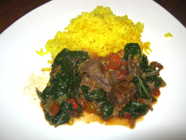 Shoko - Ghanaian Beef and Spinach Stew with Turmeric Rice