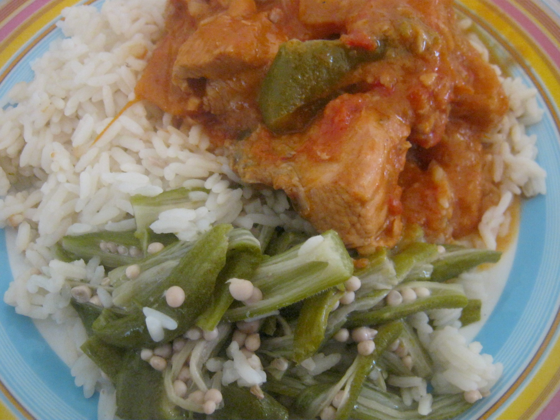 Chicken stew with rice and okra strips on a plate