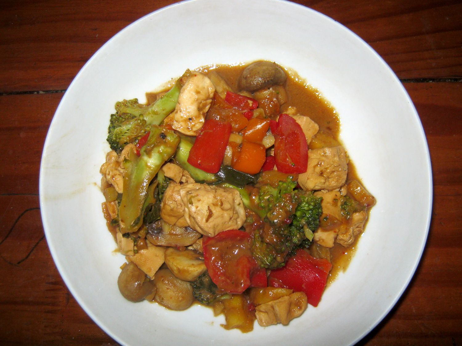 Vegan - Fried Tofu and Veggies in Peanut and Pineapple Sauce