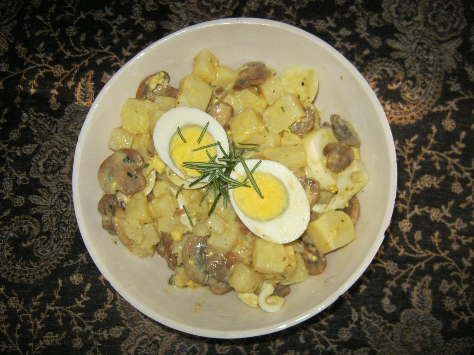 Moms homemade potato salad with eggs and mushrooms