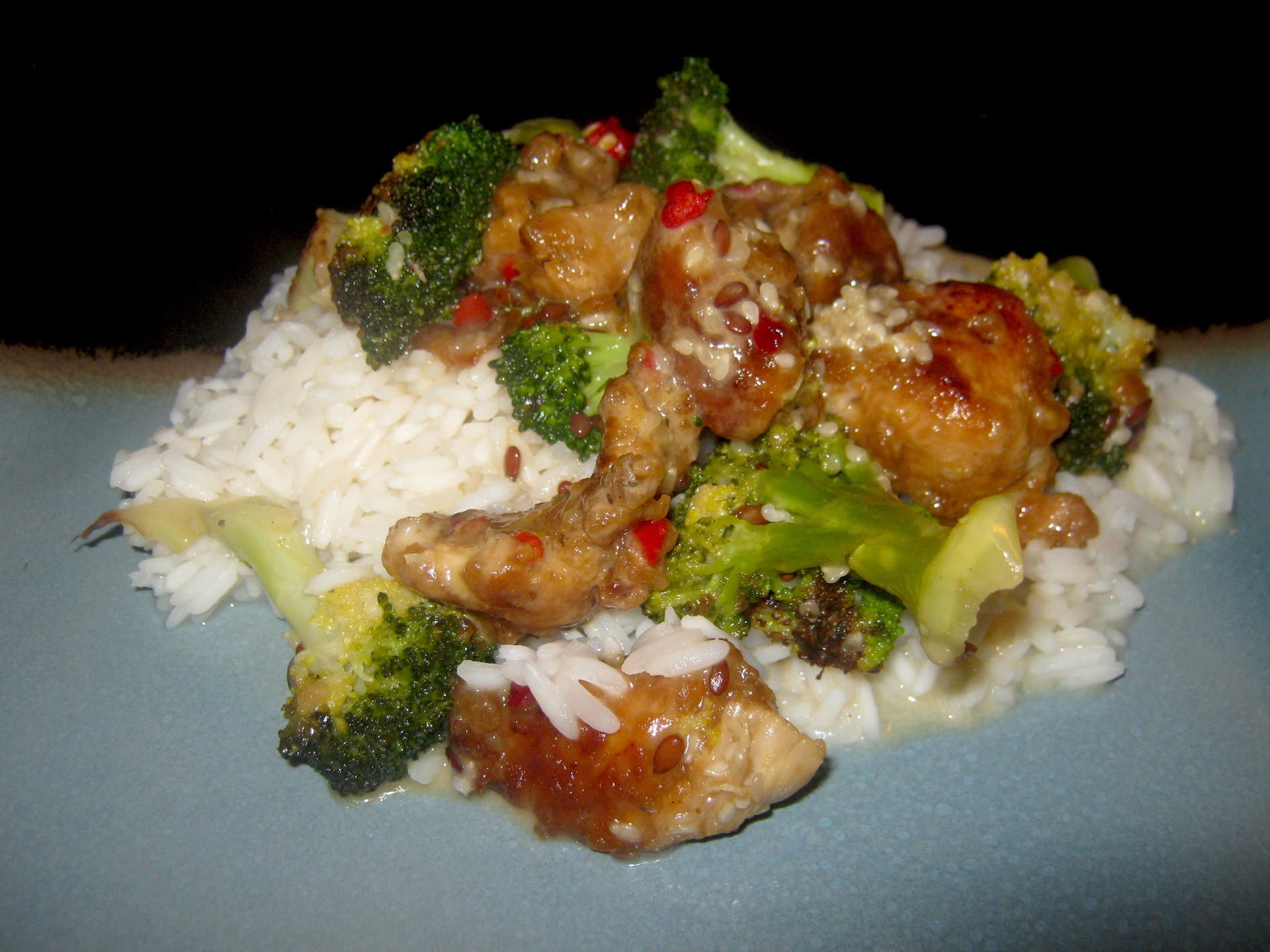 Broccoli and honey chicken on a bed of rice