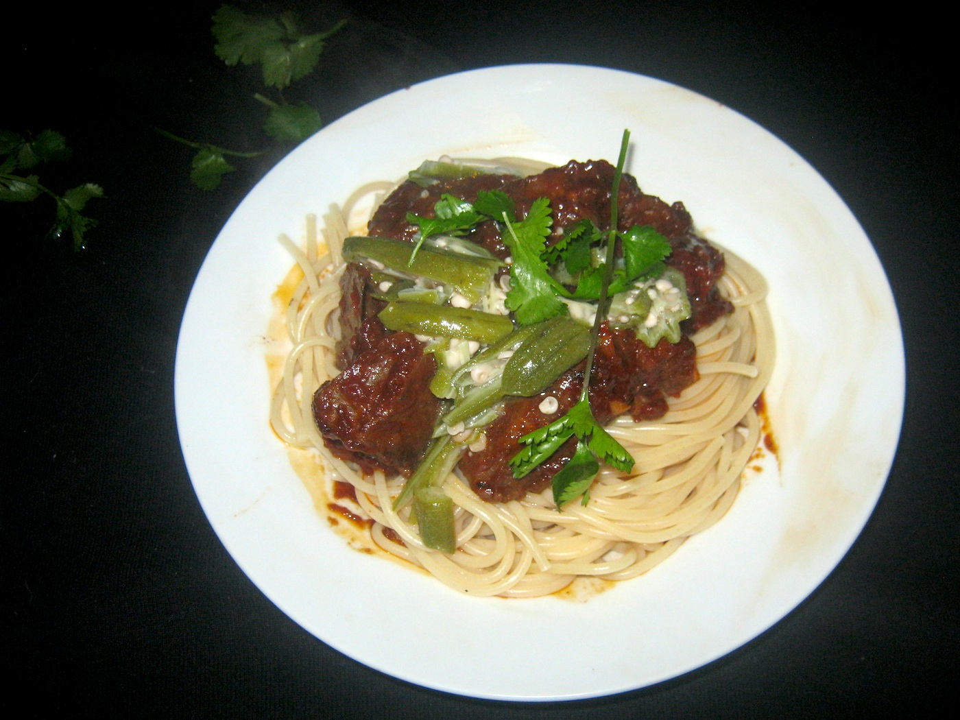 Carolina Reaper Venison Curry with Okra and Coriander Leaves