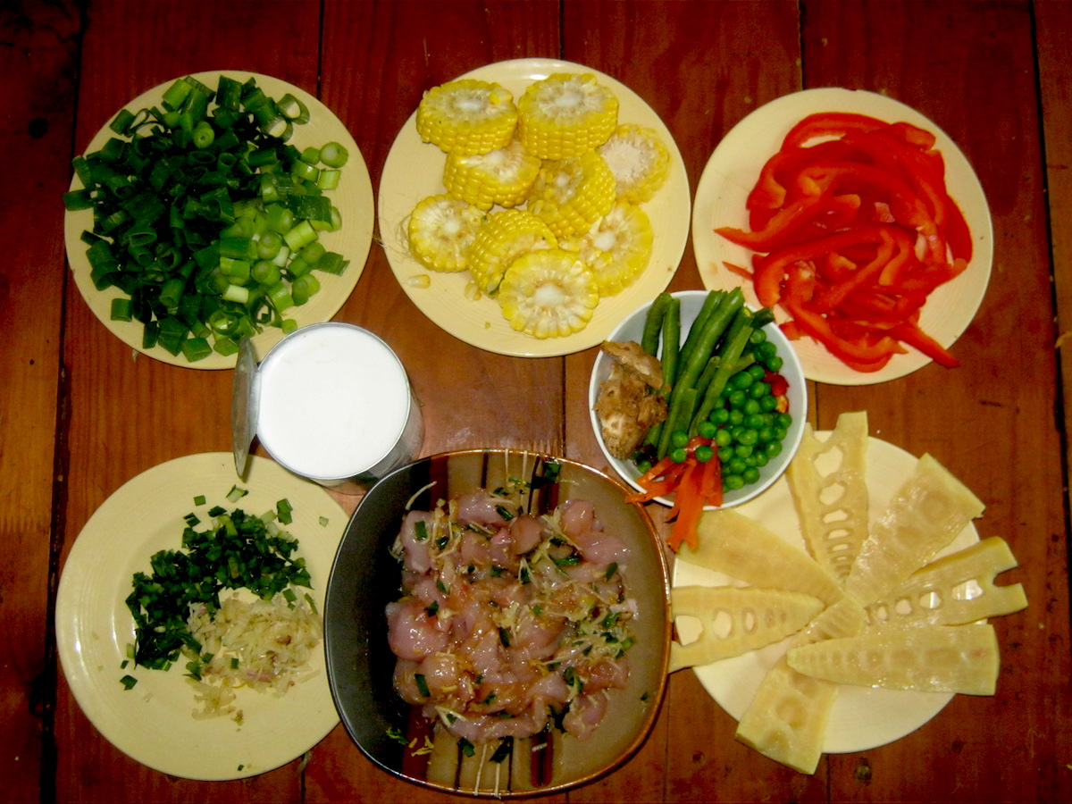 Chopped ingredients for the Thai curry recipe