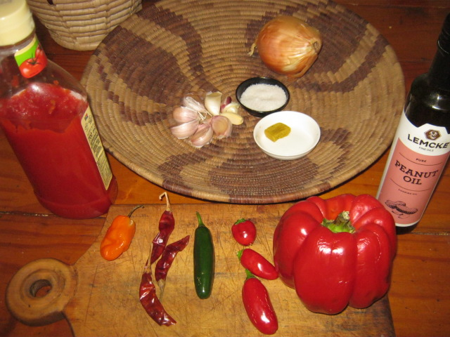 Ingredients for medium hot Ata dindin sauce