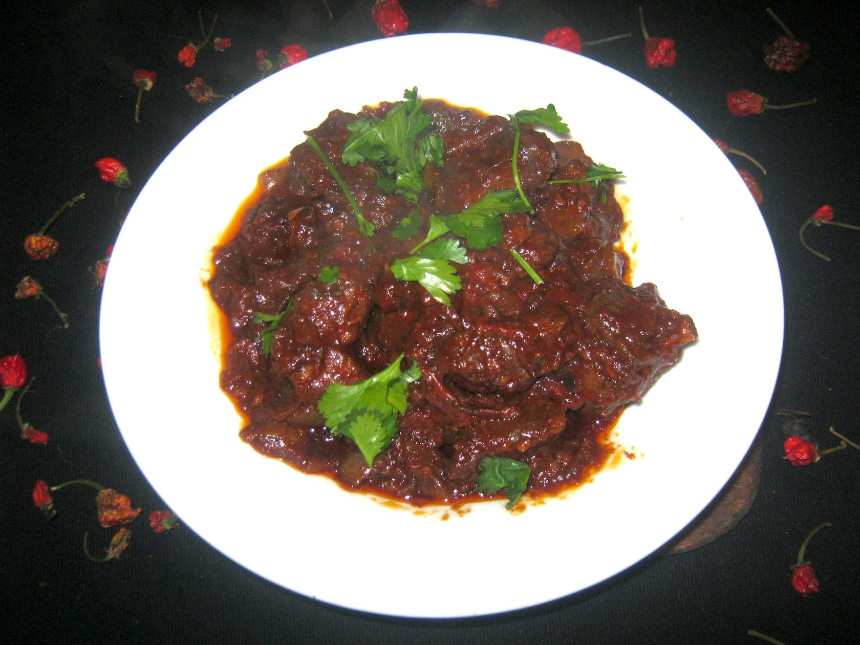 Carolina Reaper Venison Curry with Okra and fresh Coriander Leaves
