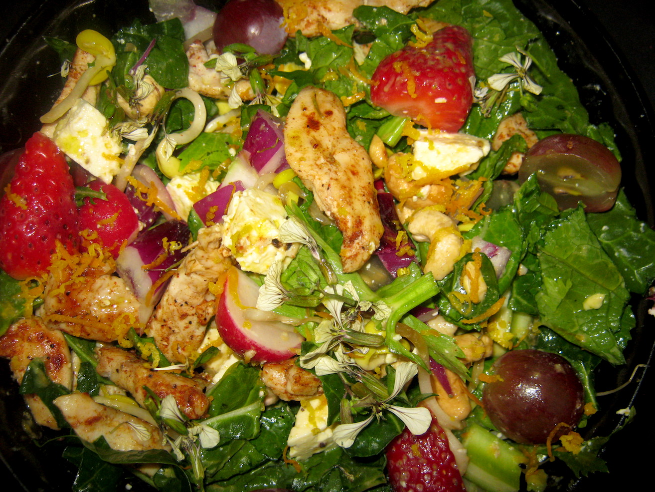 Colorful chicken salad in a bowl