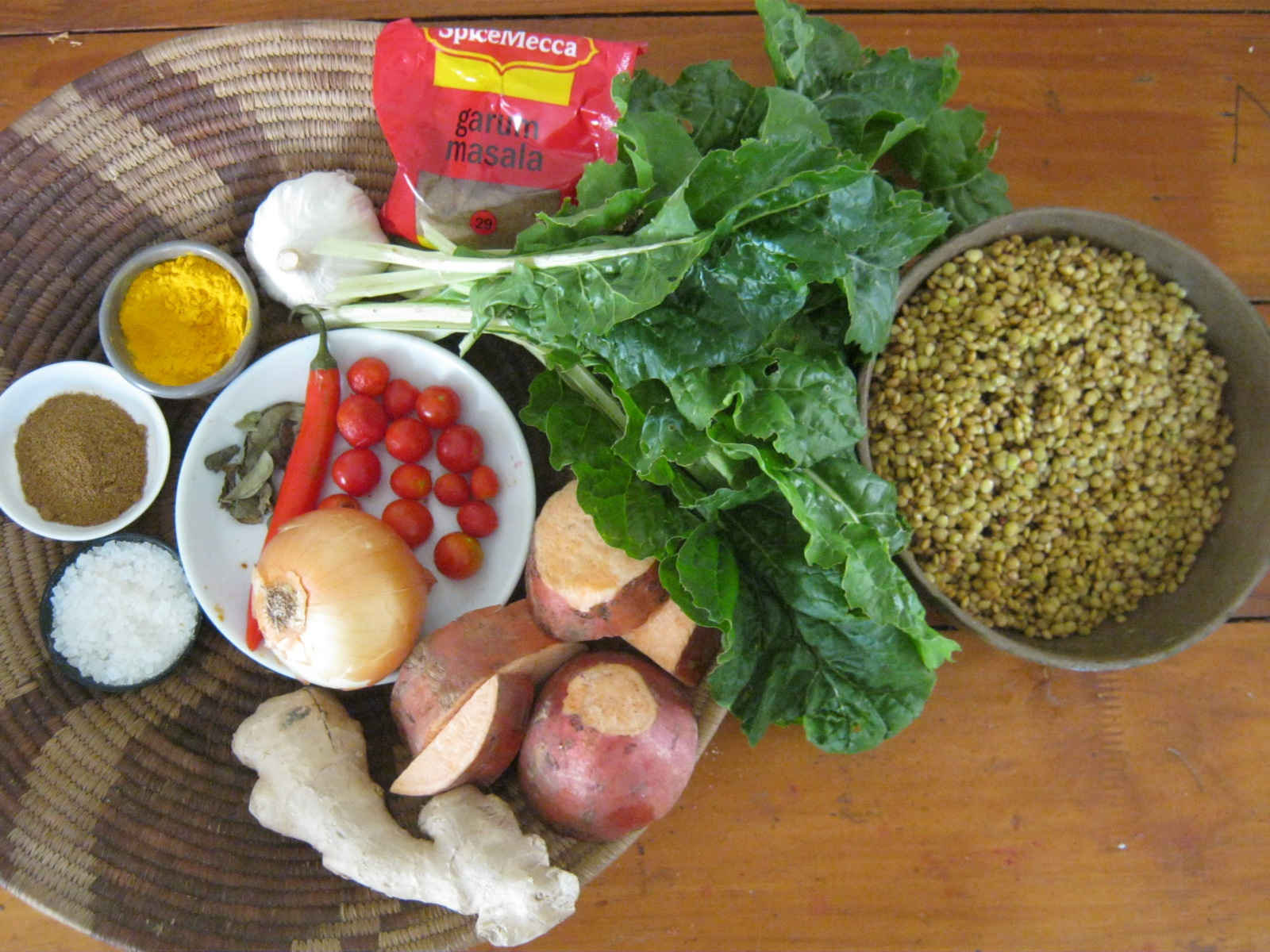 Ingredients  for Dhal with chard and sweet potato