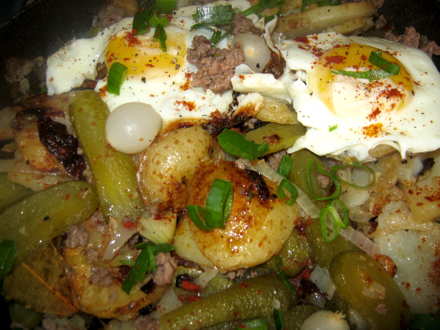 Farm Style Pan Fried Potatoes with Eggs, Mince and Pickles