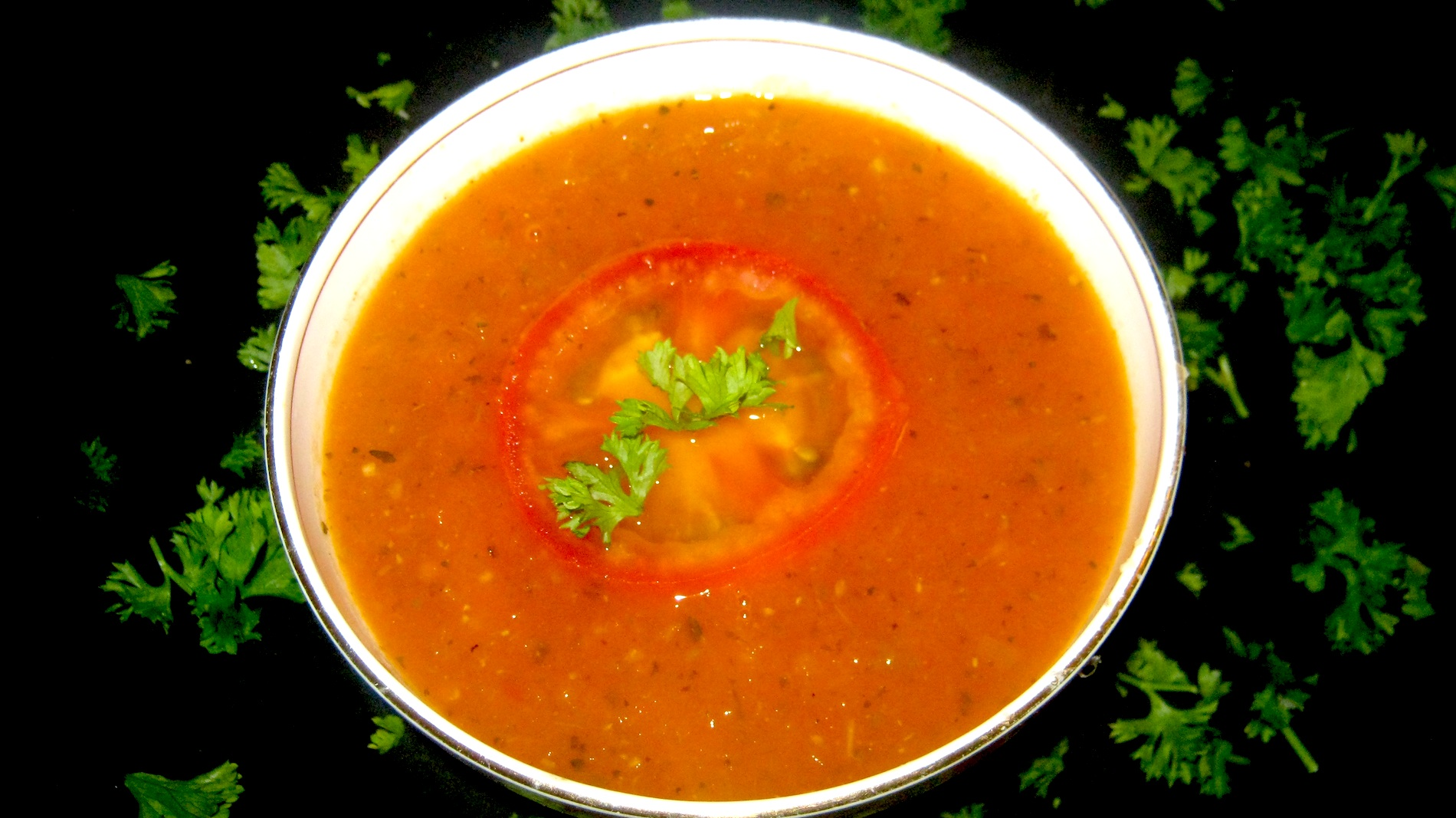 Fresh Tomato Soup in white bowl