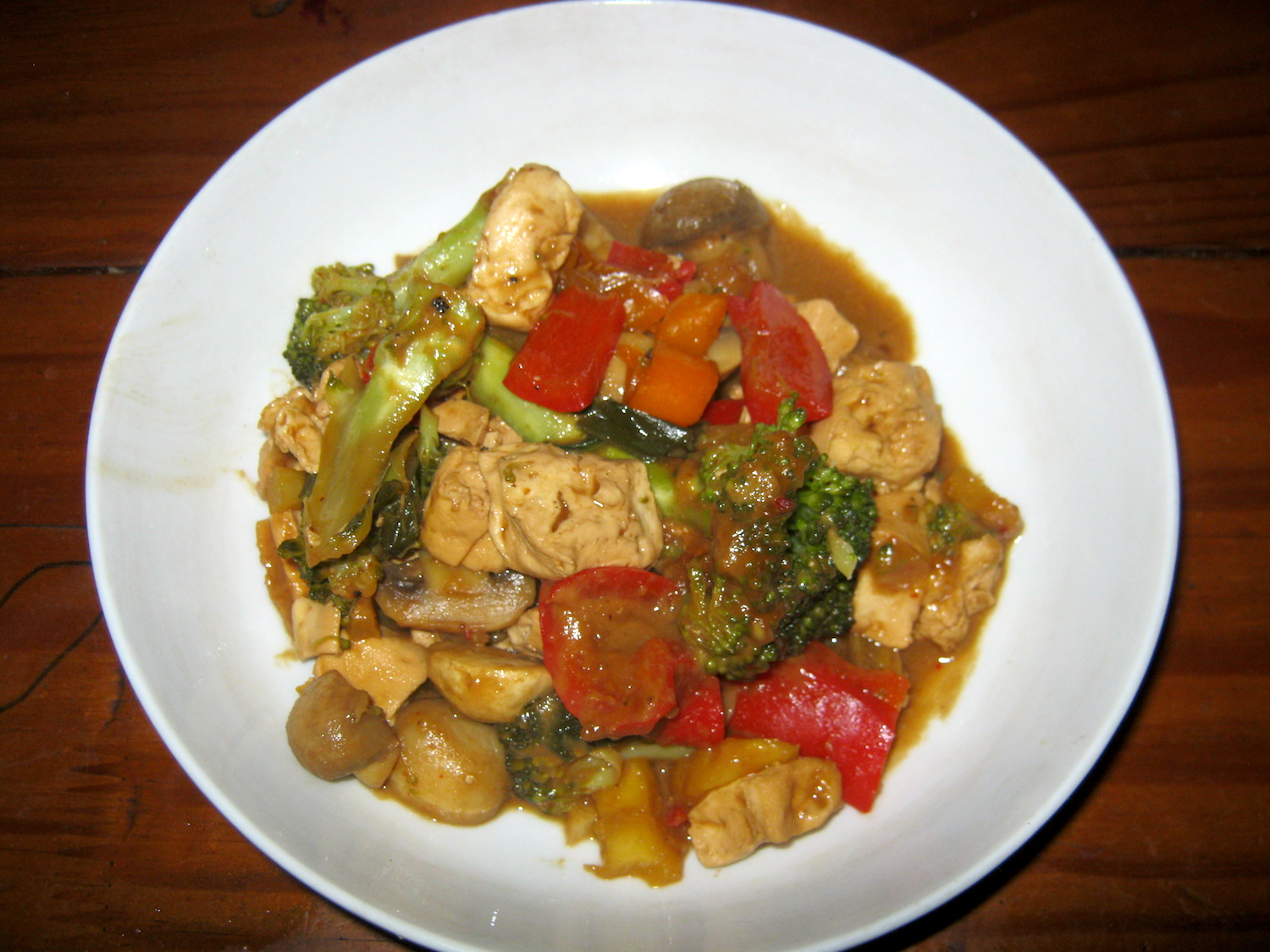 Fried Tofu and Veggies in peanut and pineapple sauce