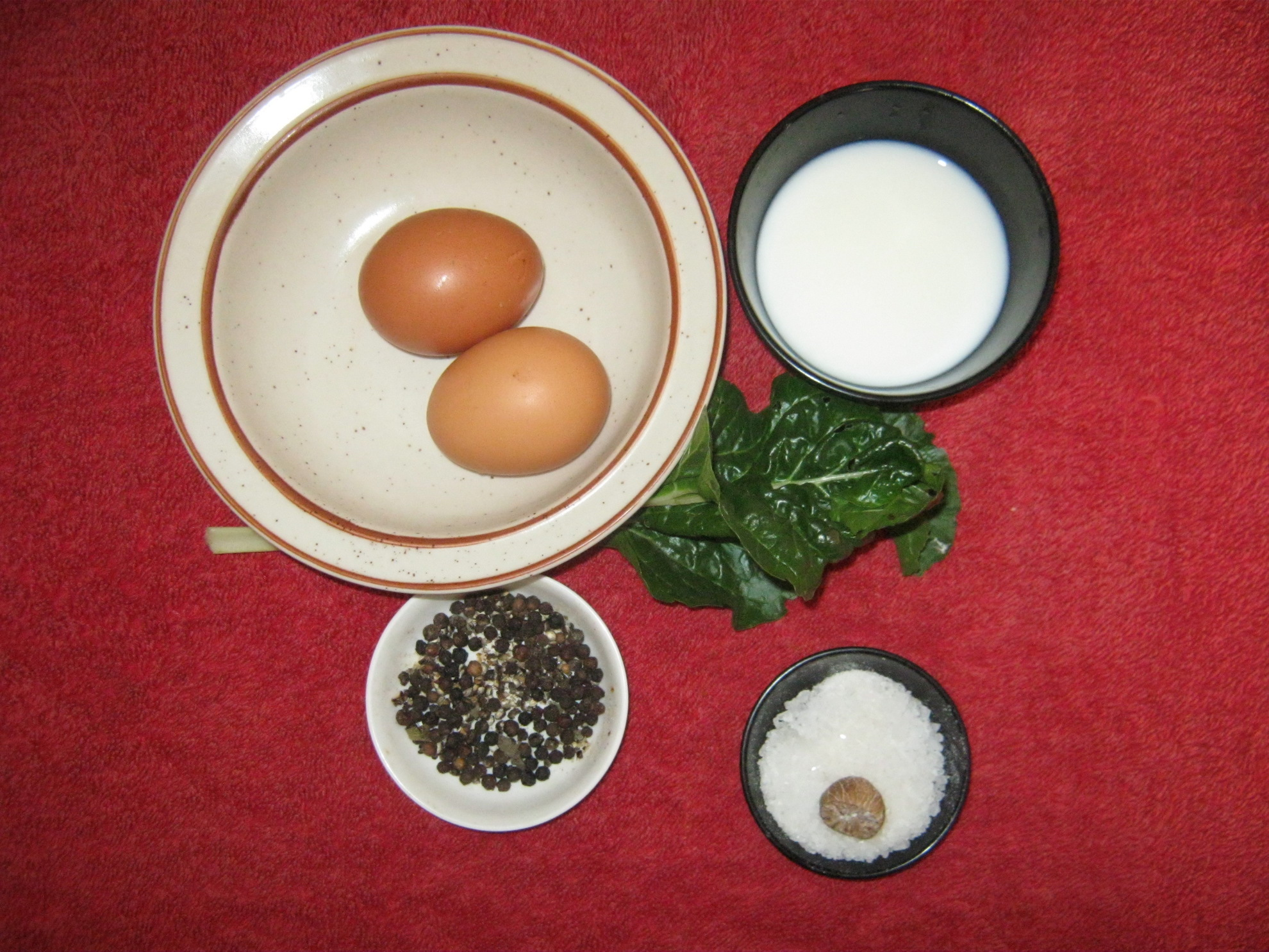 Ingredients for Green Eierstich (savory egg custard)