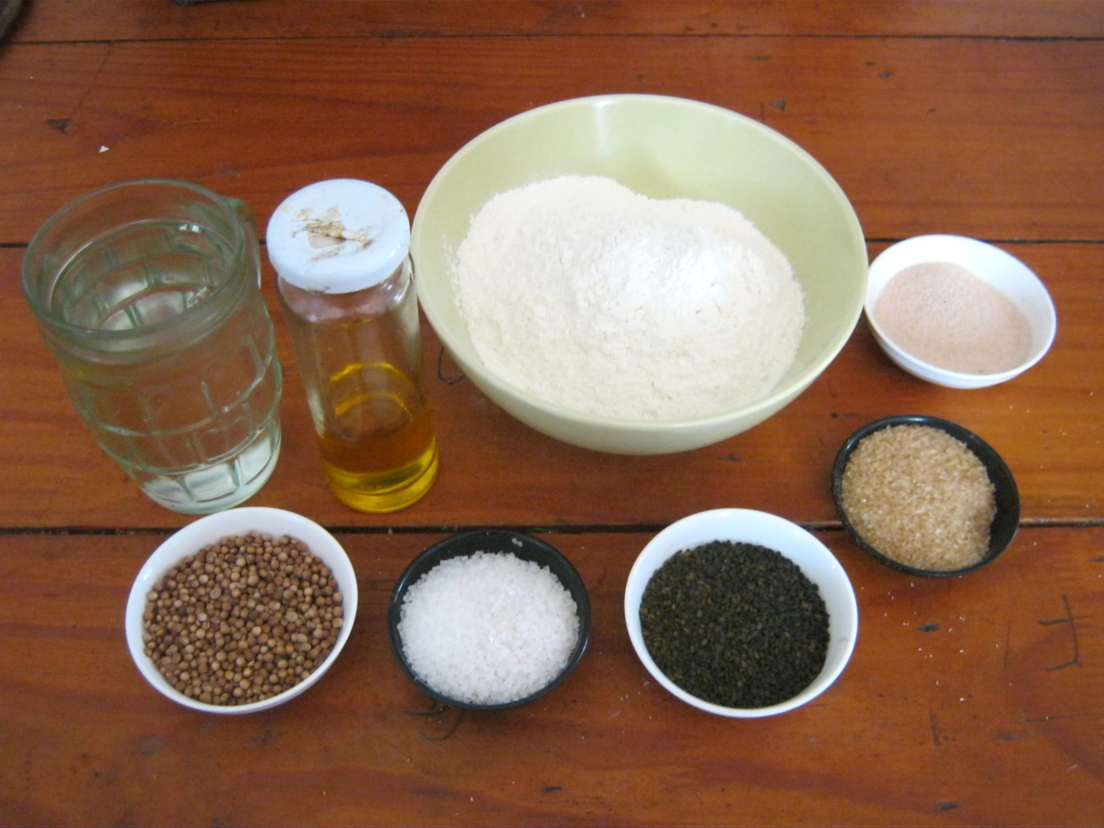 Ingredients for easy pita bread recipe