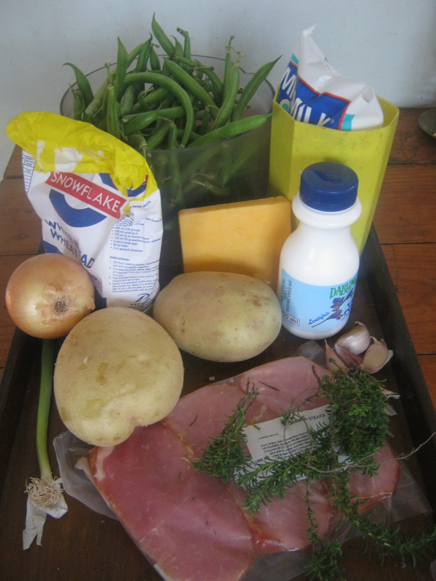Ingredients for Green bean and smoked gammon steak casserole