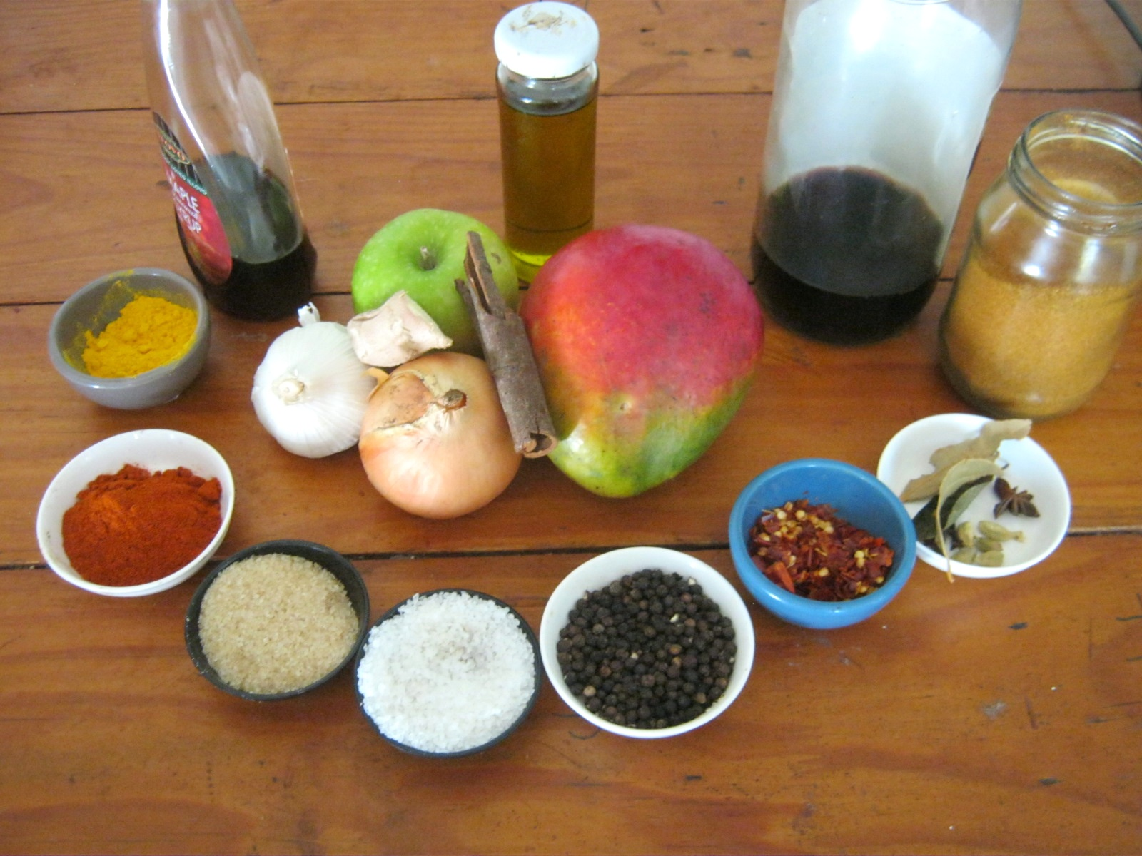 Ingredients for homemade mango chutney