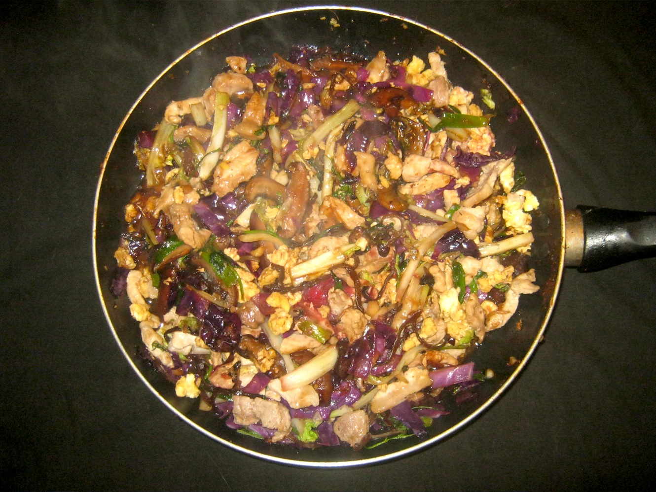 Colorful Moo Shu Pork in a skillet