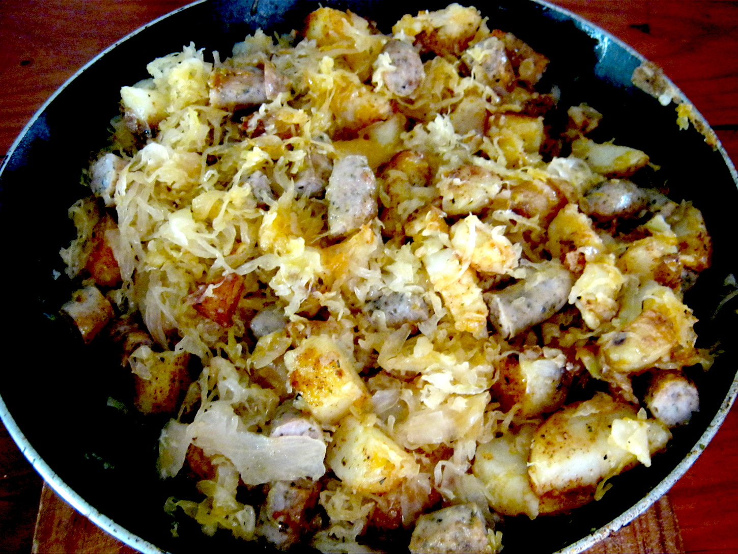Pan fried Potatoes with Bratwurst and Sauerkraut