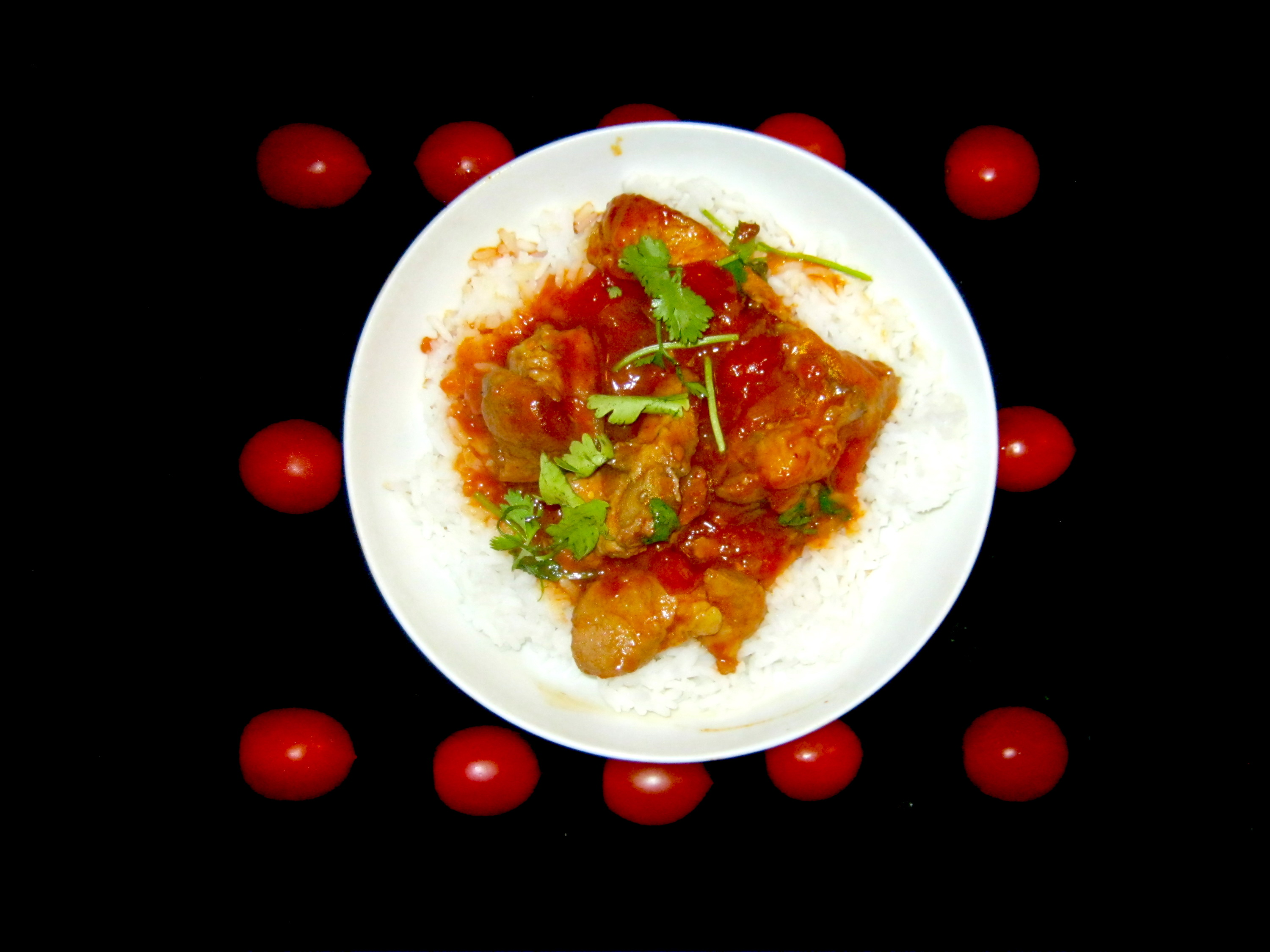 Vindaloo served on a bed of rice