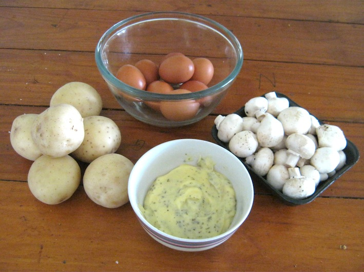 Ingredients  for  moms homemade potato salad