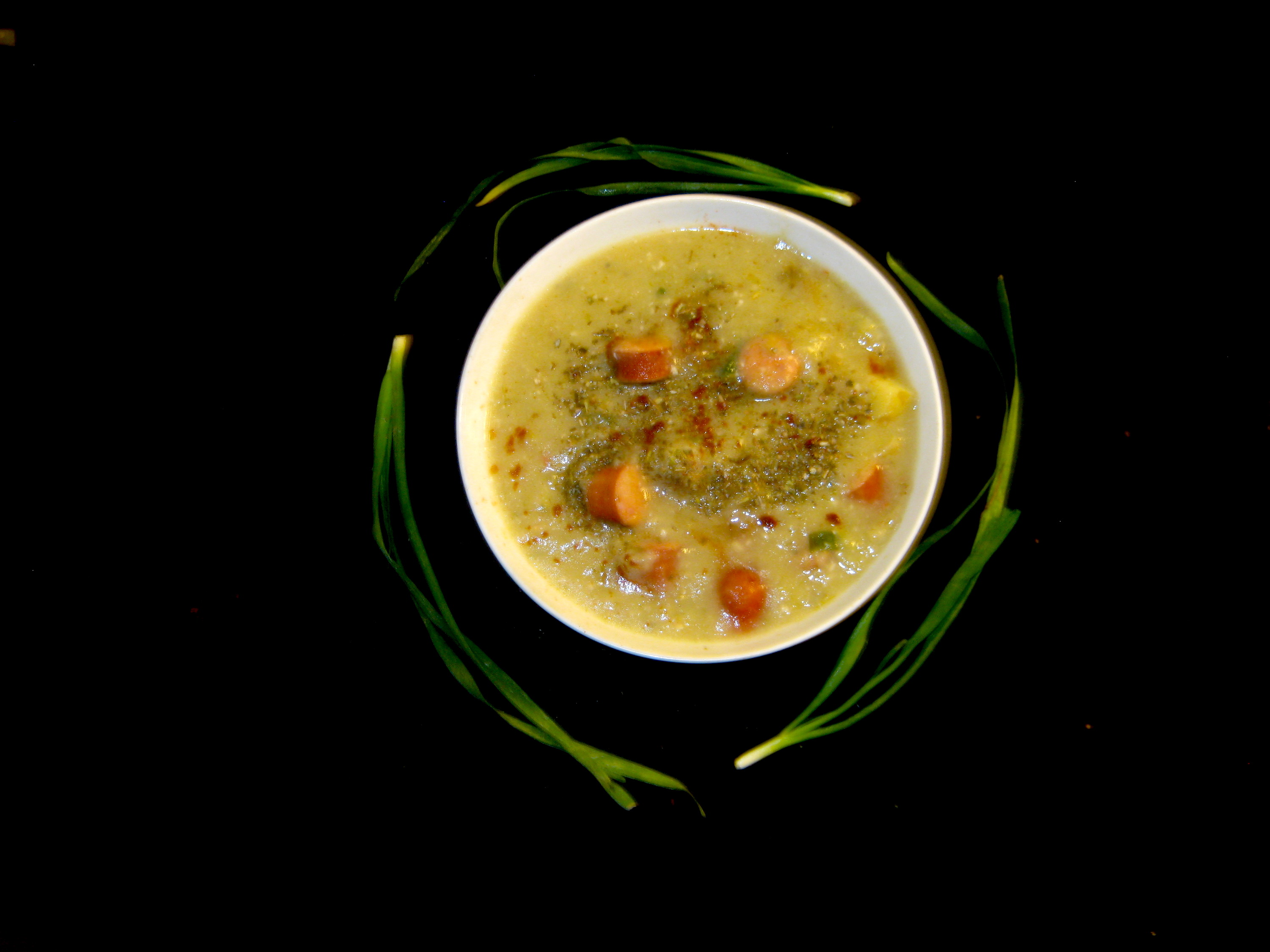 Potato Leek Soup with Debrecziner and Garlic Chives