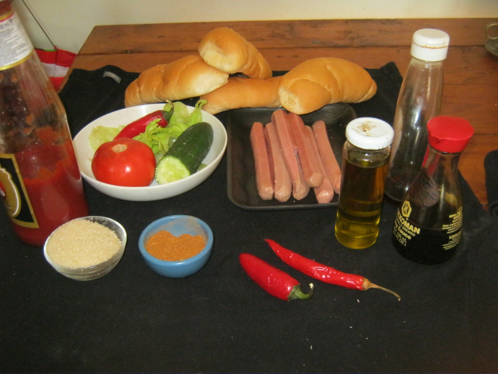 Ingredients  for  Quick Hot Dog