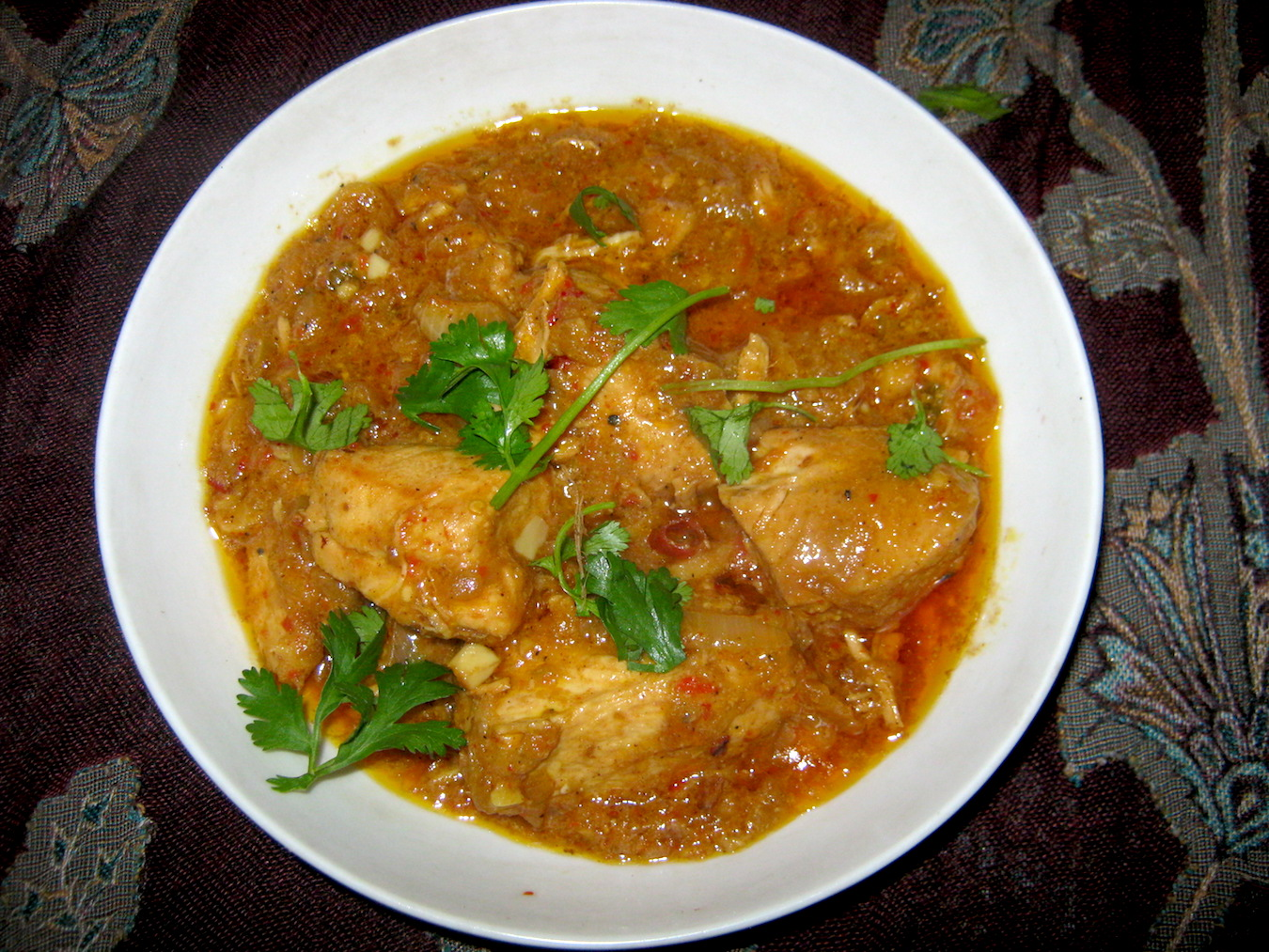 Rajasthani Chicken Curry in white bowl