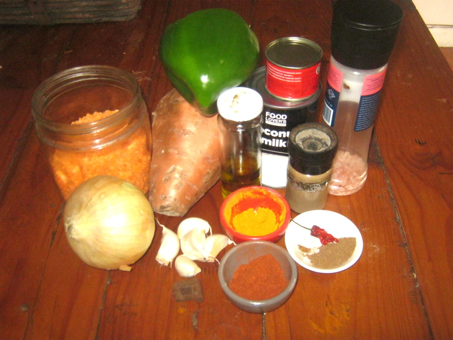Ingredients for red lentil curry