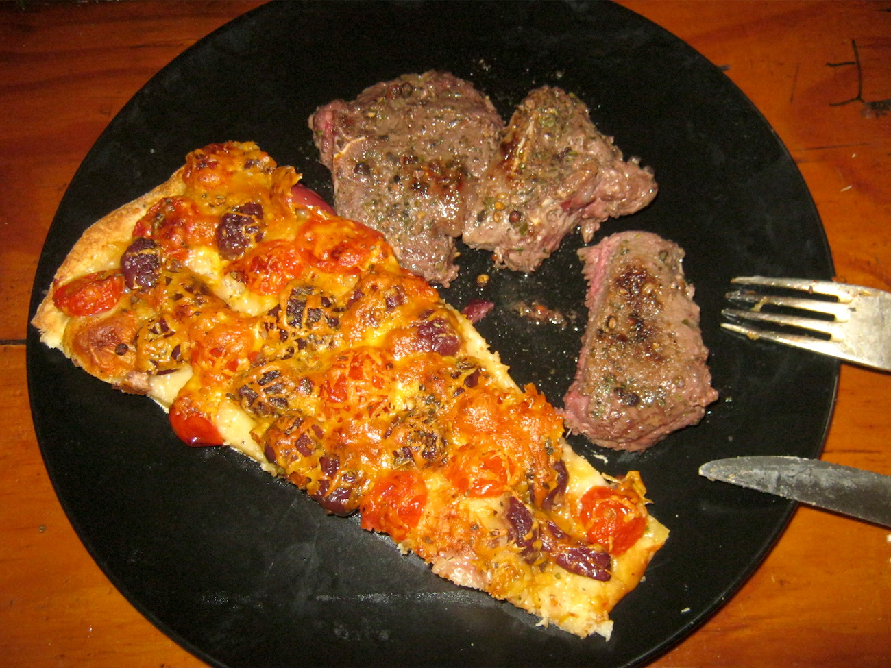 The meat spice in this recipe was used for these springbok chops as well as the slice of pizza.