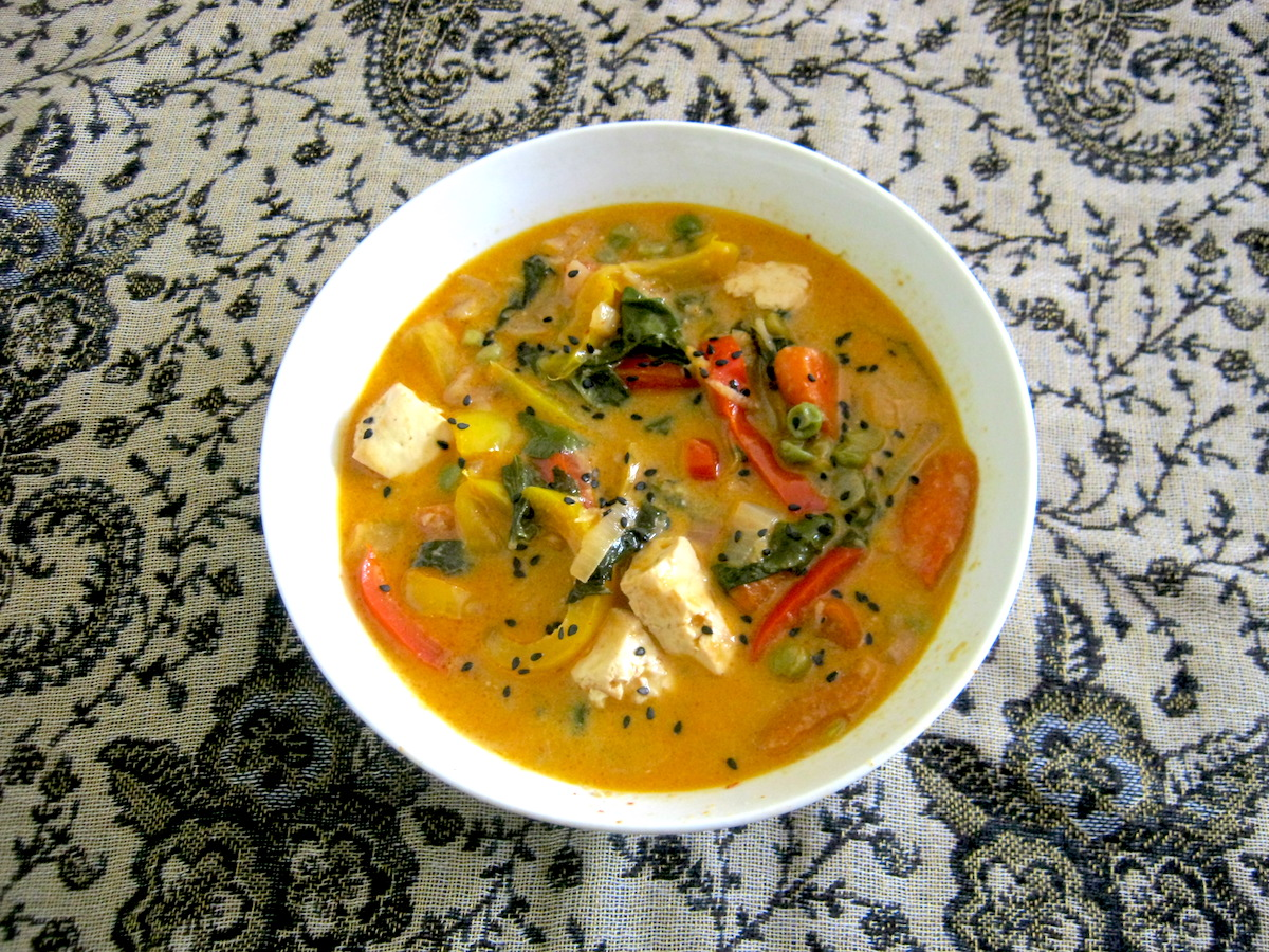 Vegetarian Thai Red Curry in a white bowl