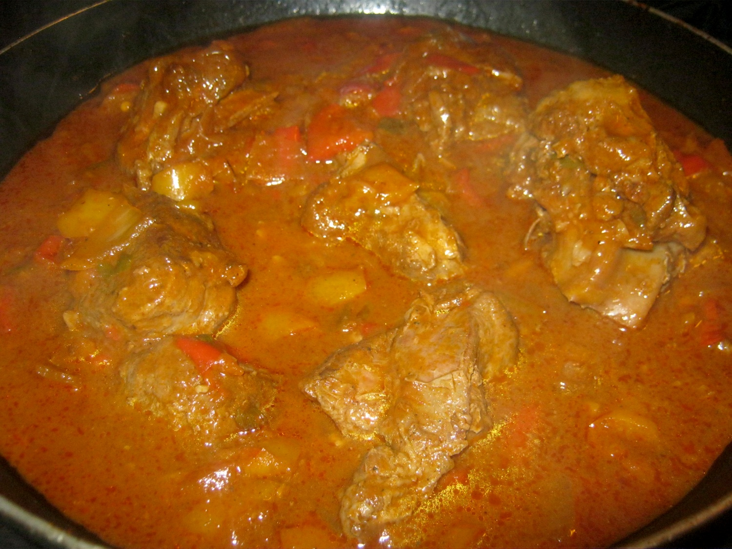 Venison goulash in pan