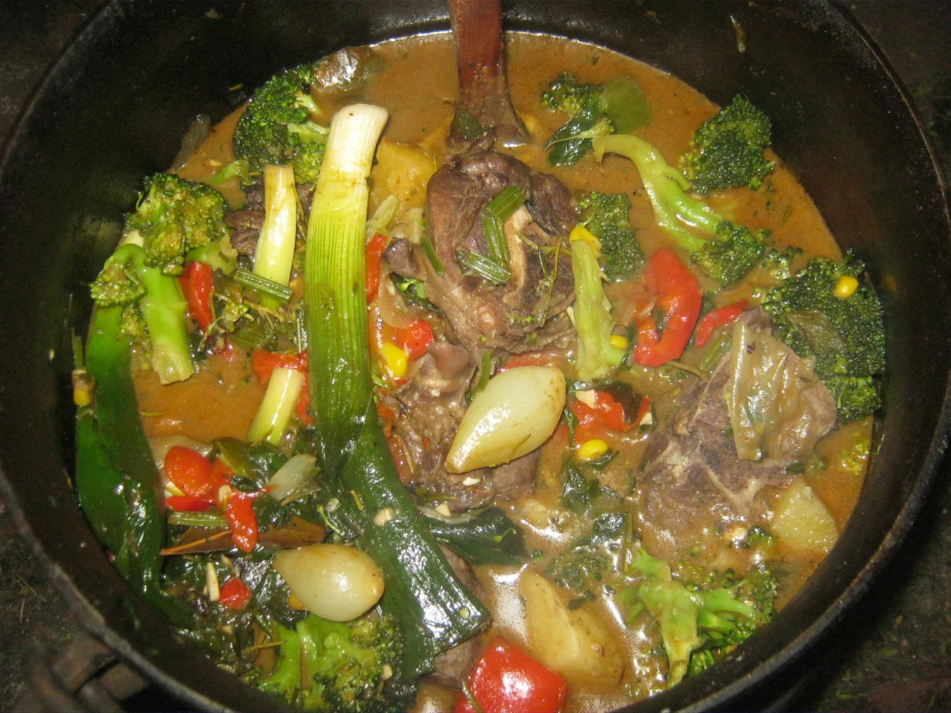 Venison Potjie Stew ready to be served