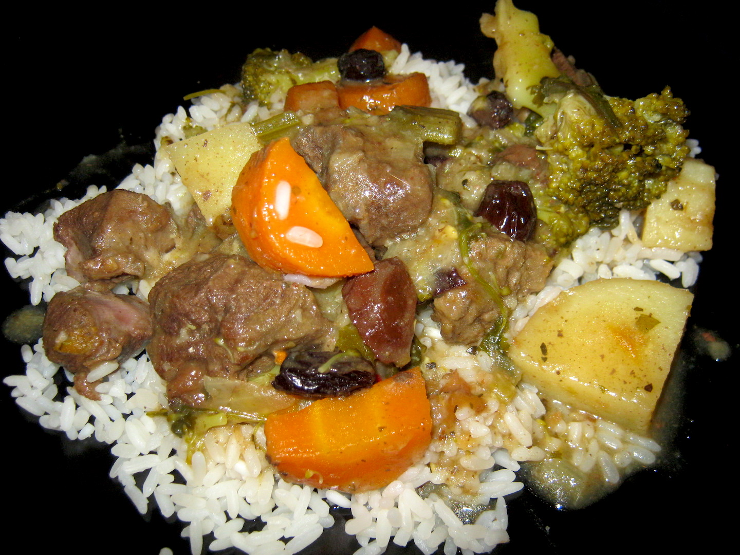 Venison stew on a bed of rice