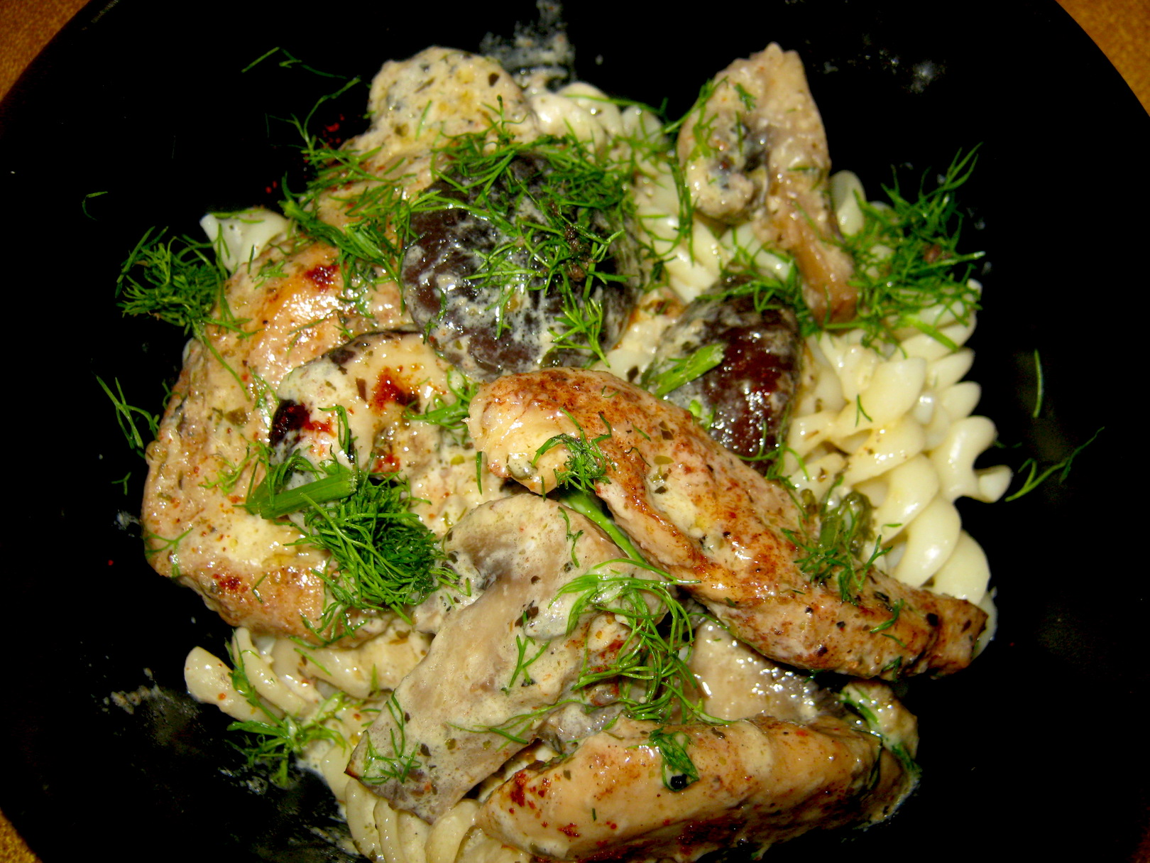 Chicken mushroom sauce with pasta