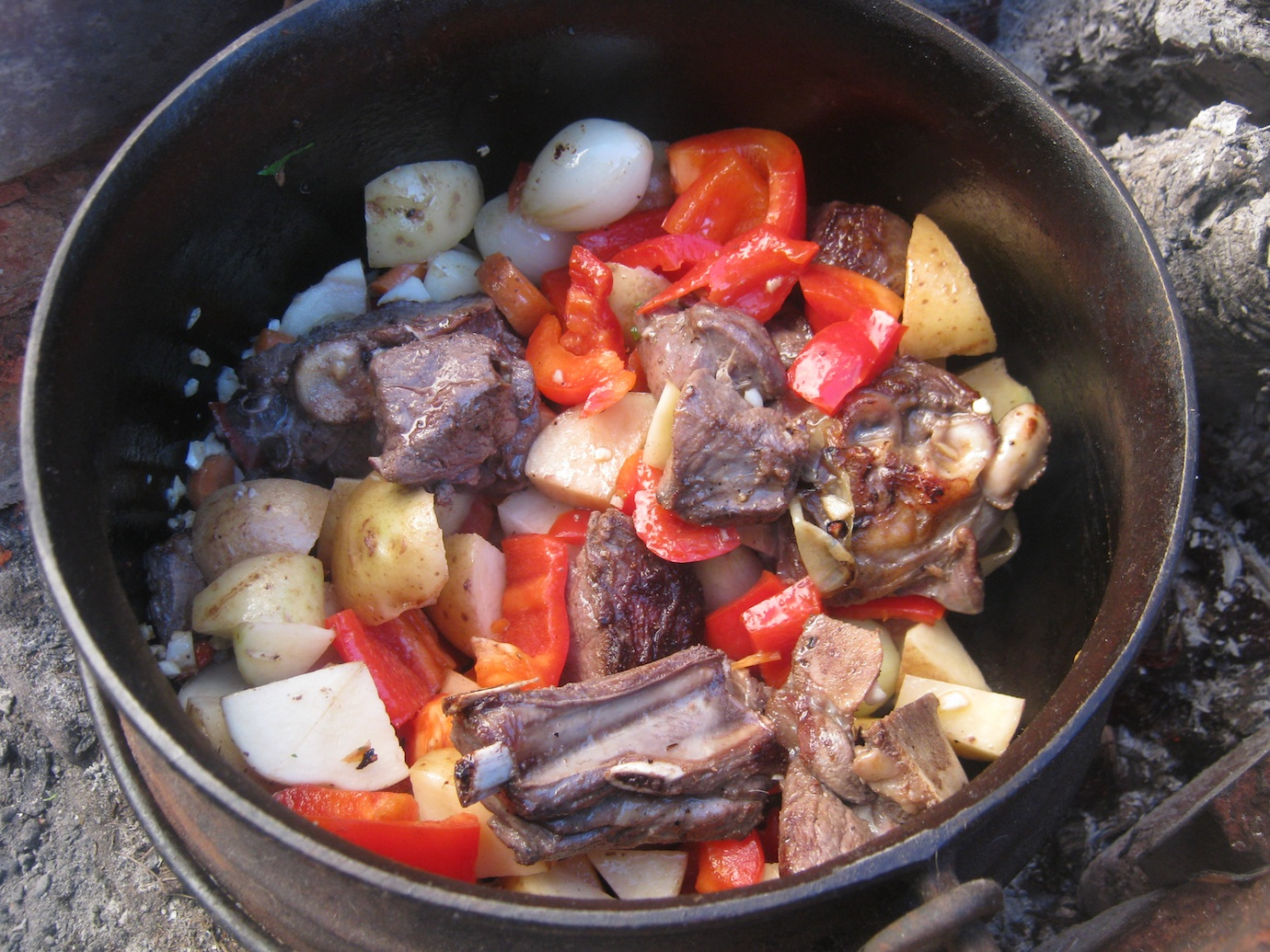 Venison, onions, carrots, garlic, peppers and potatoes in the potjie