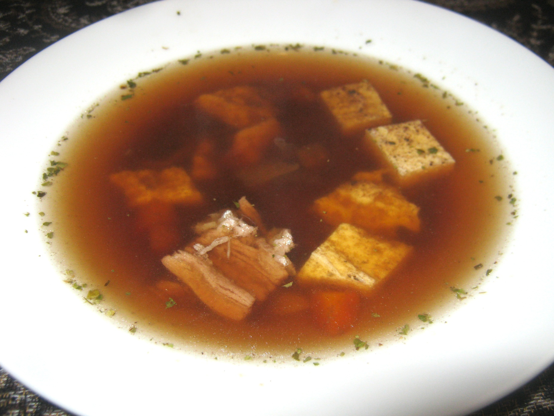 Clear Beef broth with Eierstich