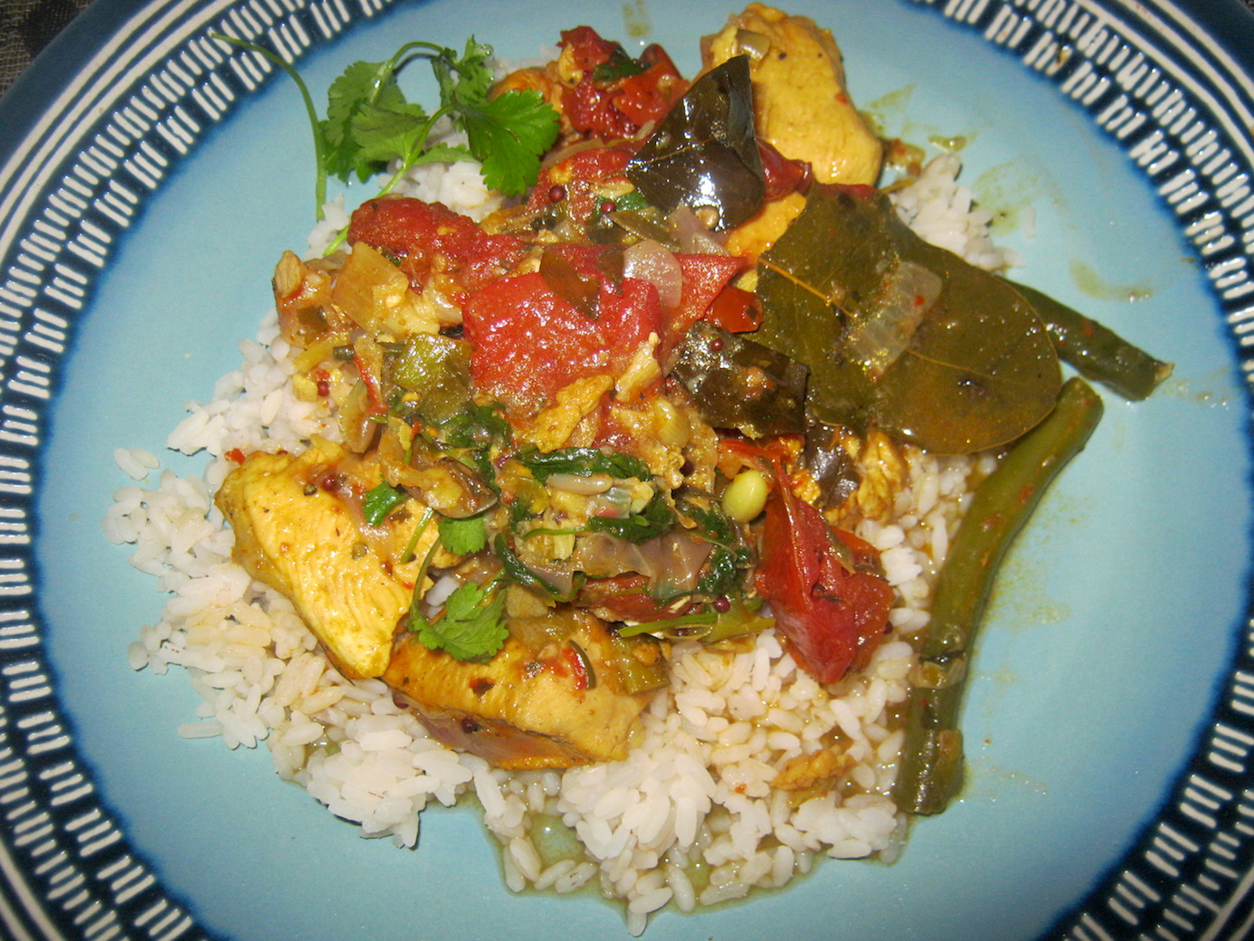 Cape Town Chicken Tarkari on a bed of steamed rice