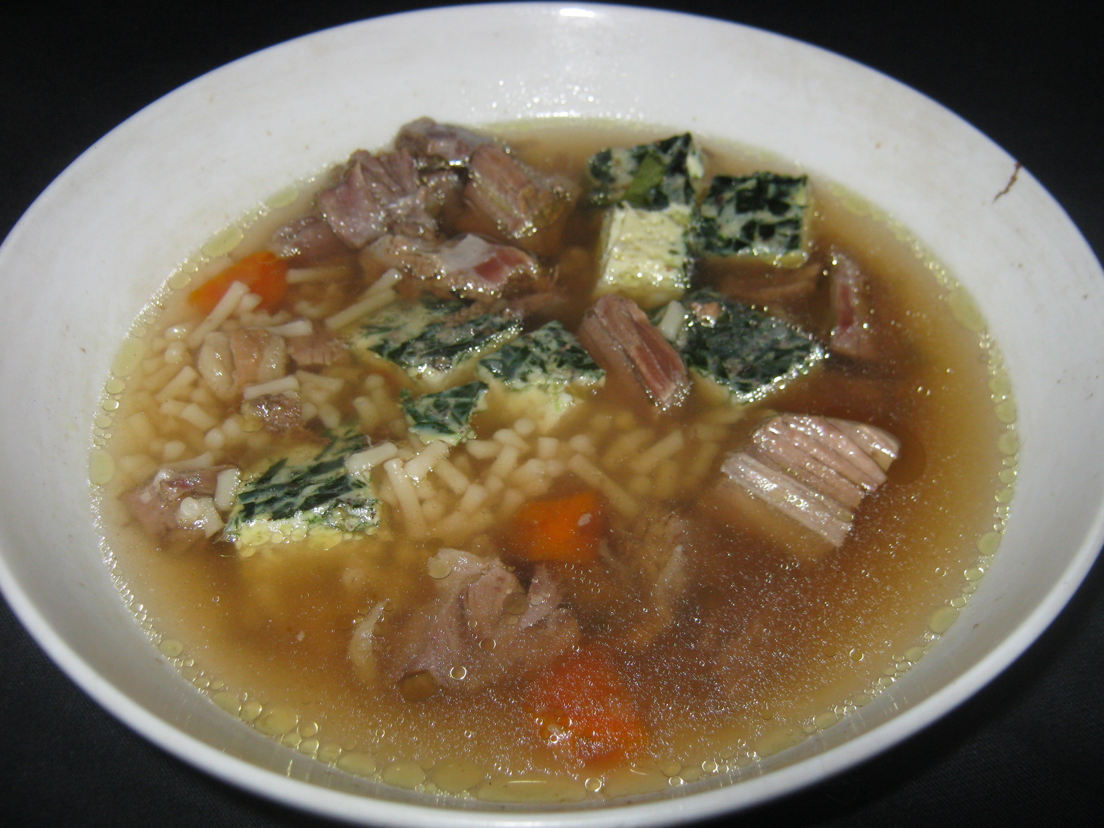 Clear Meat broth with green eierstich