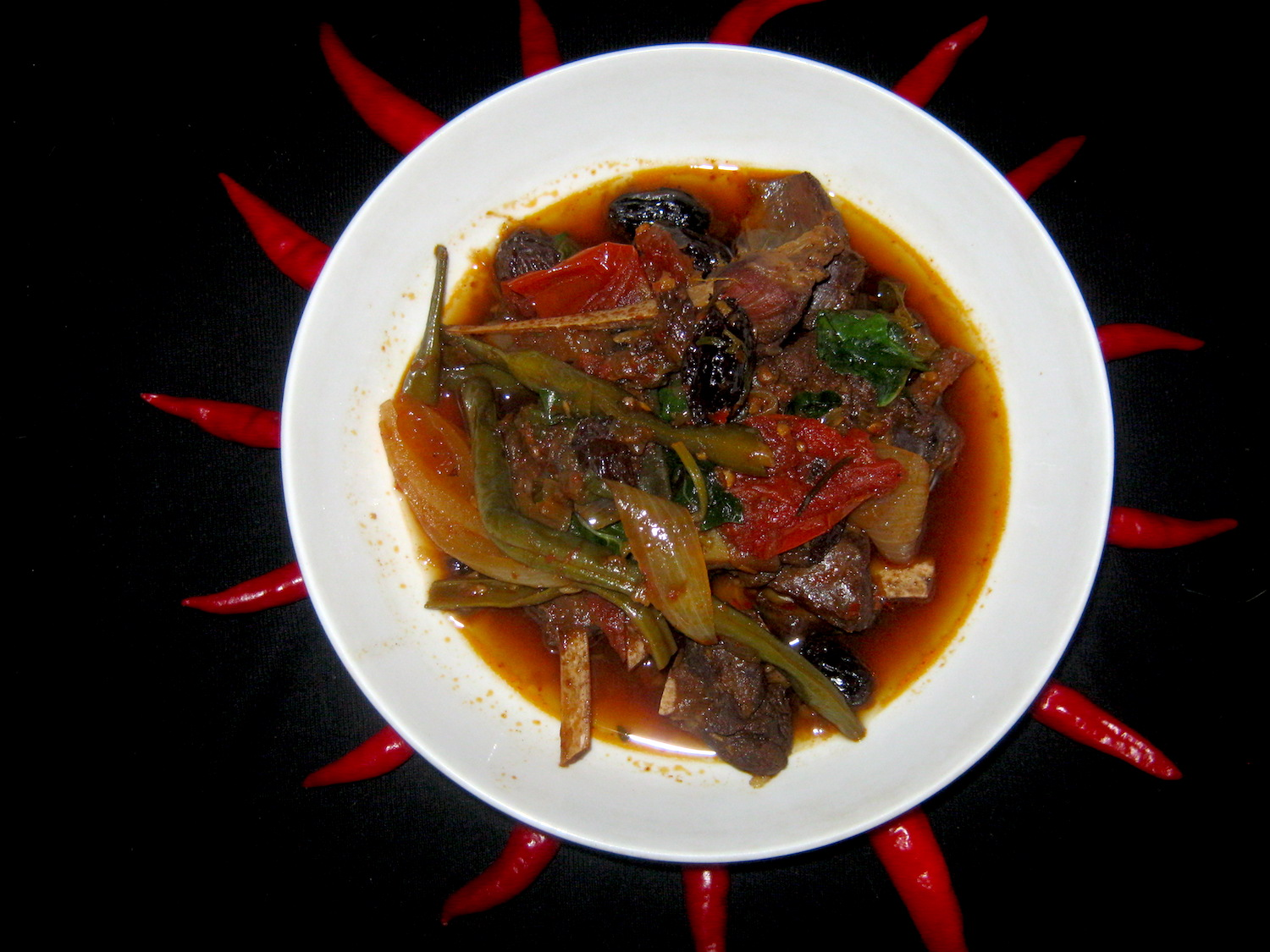South African Springbok Curry served in a white bowl