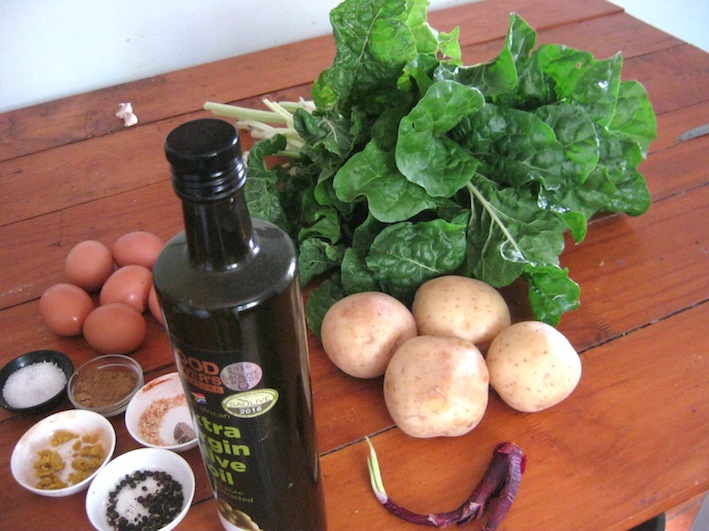 Ingredients for Potatoes with eggs and swiss chard (or spinach)