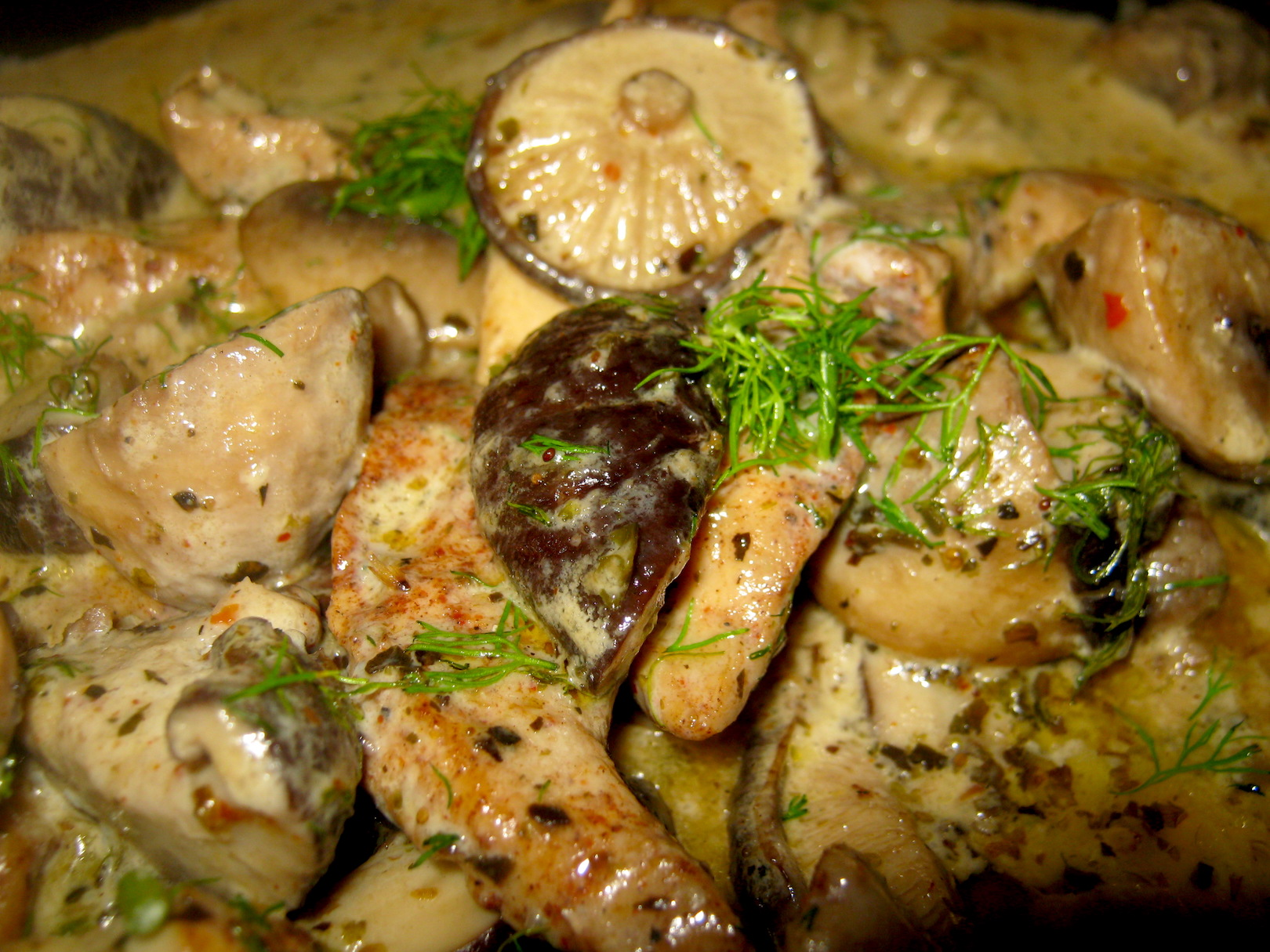 Chicken and mushroom sauce in a pan closeup