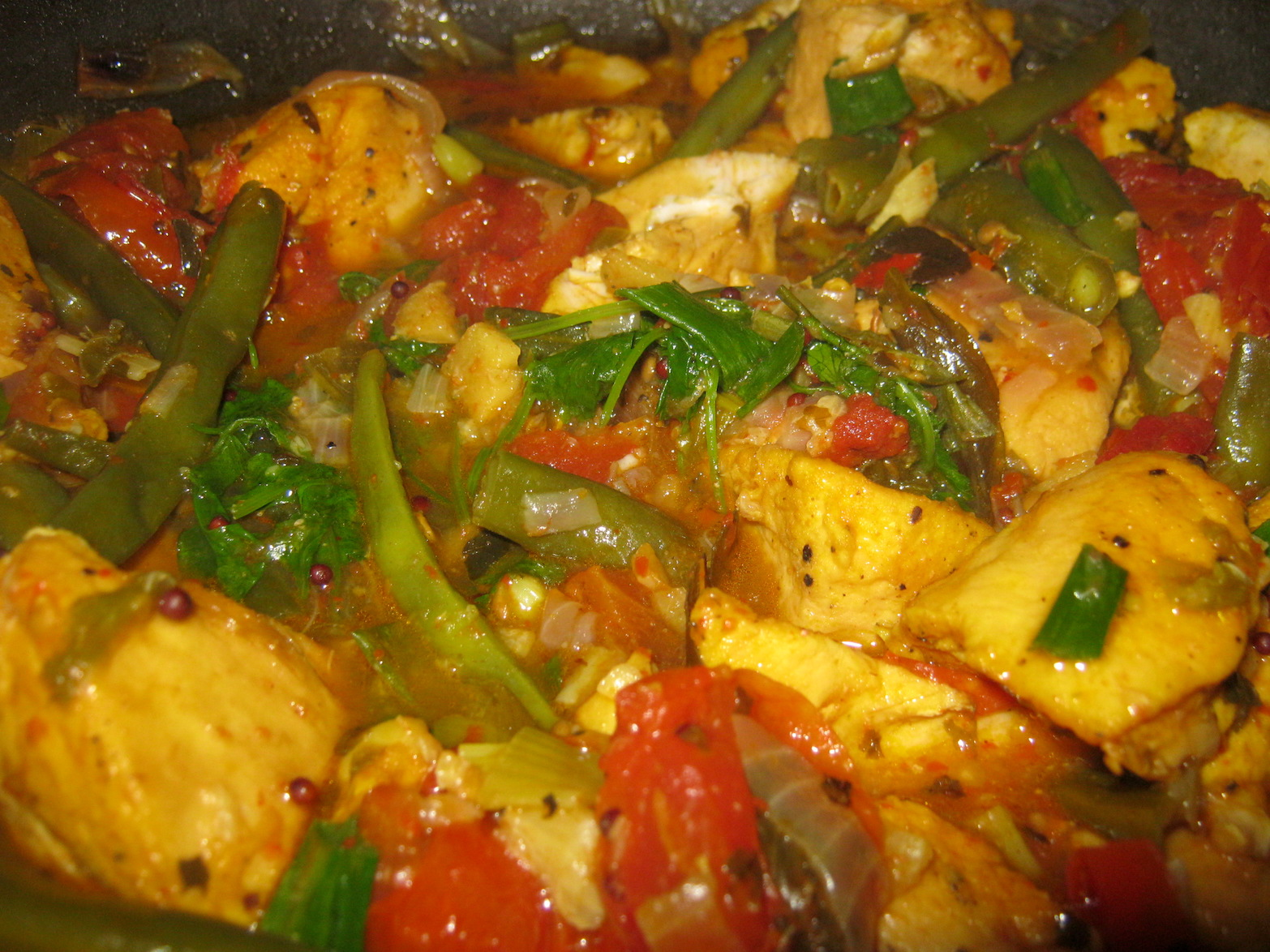 Cape Town Chicken Tarkari in a pan