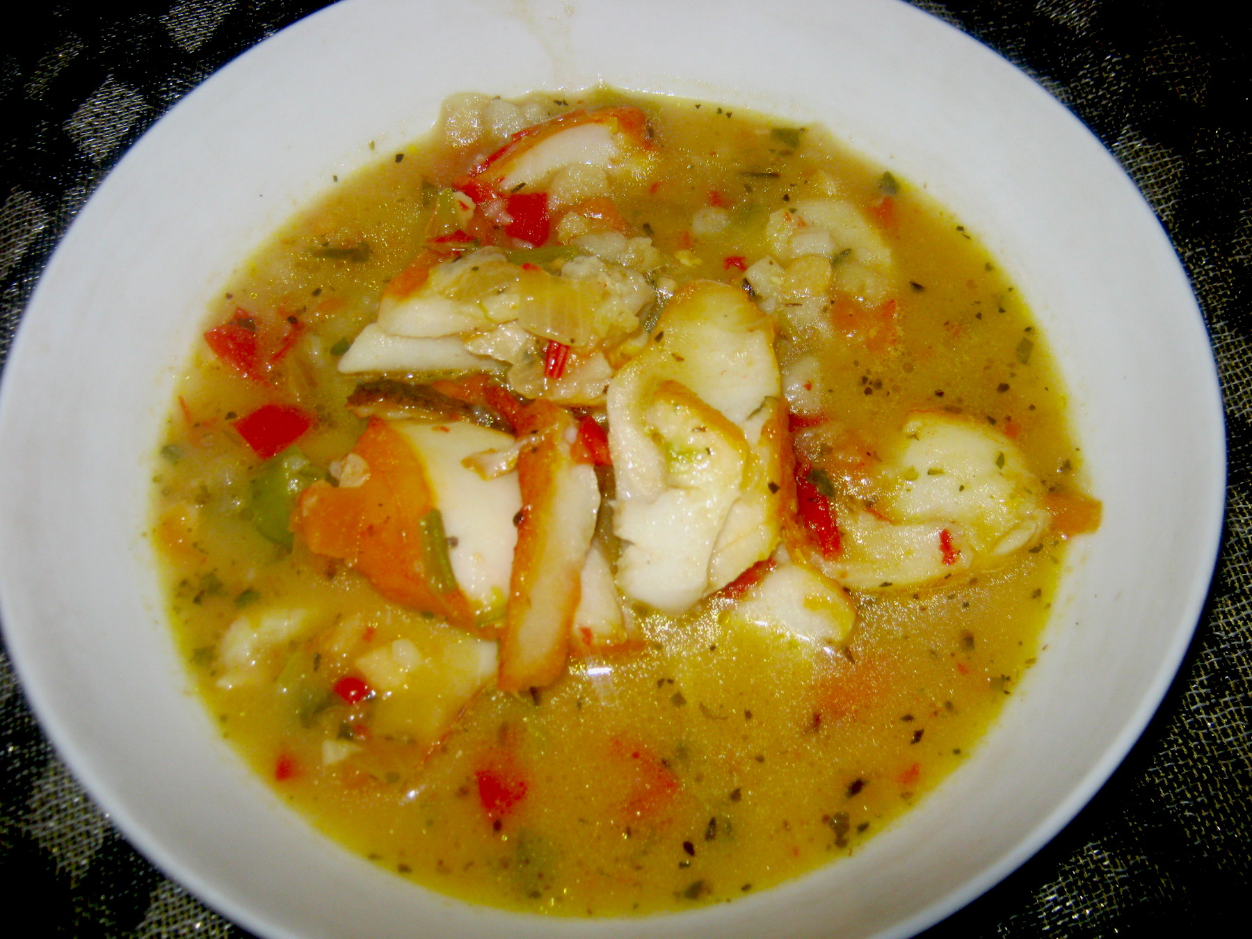 Easy Haddock soup (chowder) in a white bowl
