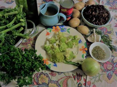 herby kale and bean soup ingredients